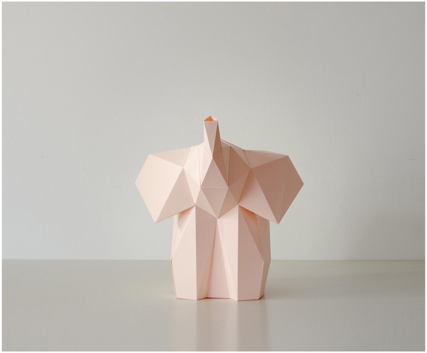 Lampa stołowa z papieru do montażu Baby Elephant, Blady różowy, S 23 x W 24 cm