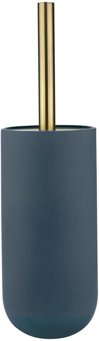 Escobilla de baño Lotus, Recipiente: cerámica, Azul, latón, negro, Ø 10 x Al 21 cm