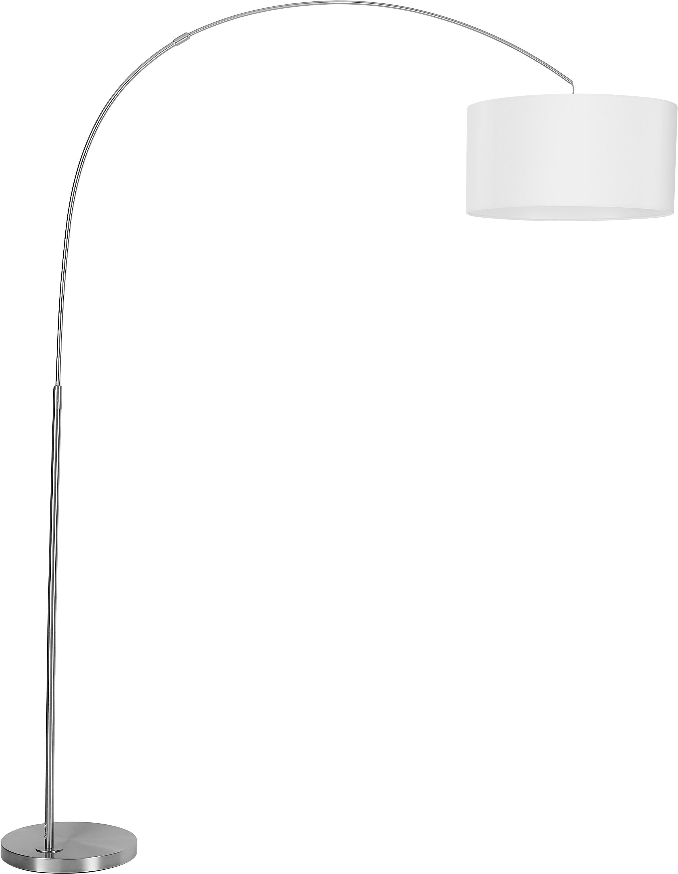 Lampada da terra ad arco Niels, Base della lampada: metallo spazzolato, Paralume: miscela di cotone, Paralume: bianco Base della lampada: argento Cavo: trasparente, Larg. 157 x Alt. 218 cm