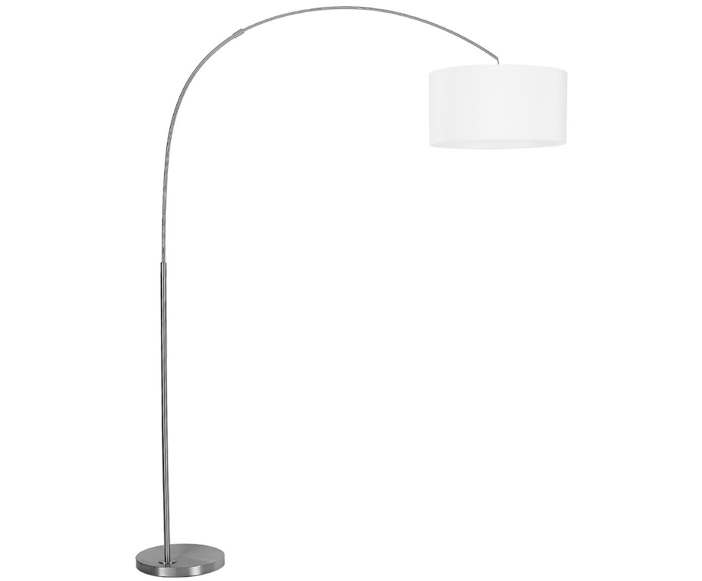 Bogenlampe Niels, Lampenfuß: Metall, gebürstet, Lampenschirm: Baumwollgemisch, Lampenschirm: WeißLampenfuß: ChromKabel: Transparent, 157 x 218 cm
