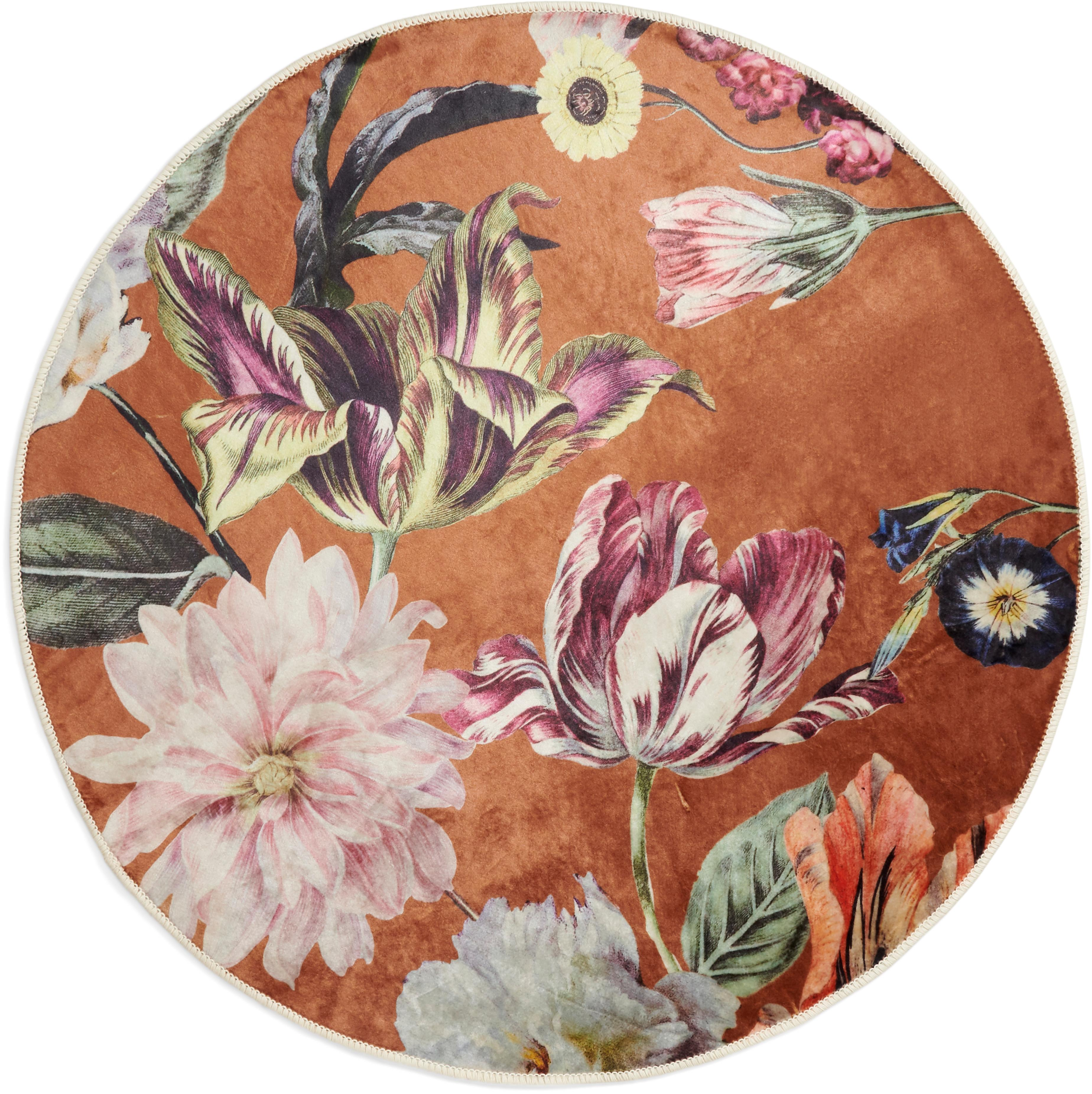 Rond vloerkleed Filou met bloemmotief, 60% polyester, 30% thermoplastisch polyurethaan, 10% katoen, Karamelbruin, multicolour, Ø 180 cm (maat L)