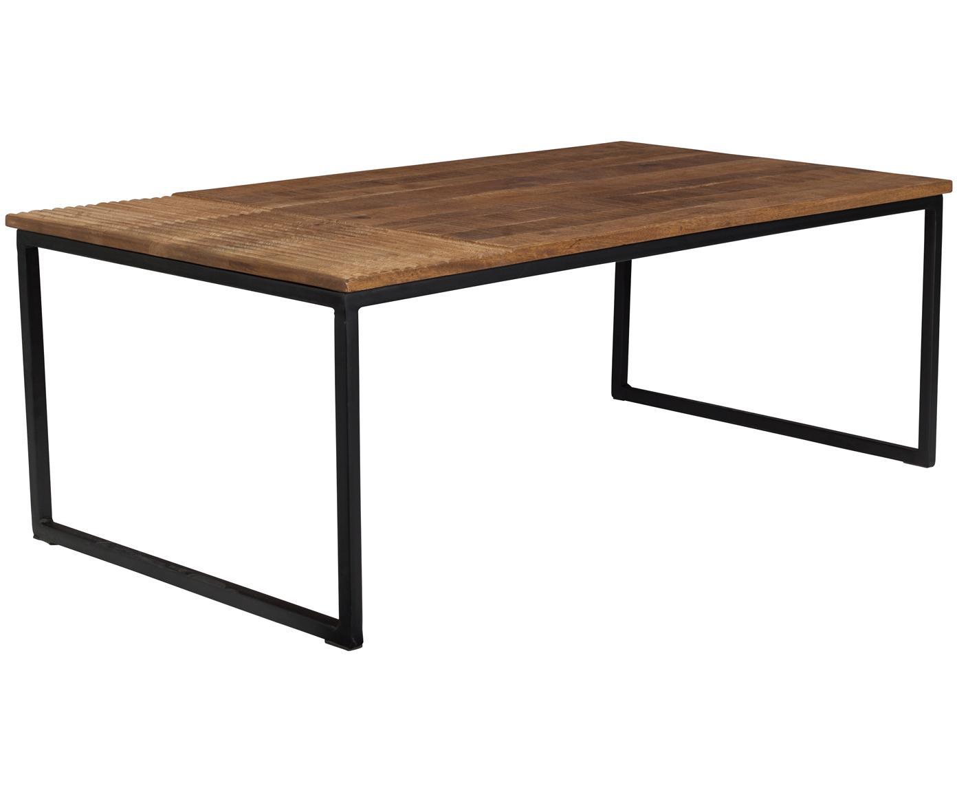 Couchtisch Randi im Industrial Design, Tischplatte: Mangoholz, massiv, Füße: Stahl, pulverbeschichtet, Tischplatte: Mangoholz Füße: Schwarz, B 110 x T 60 cm