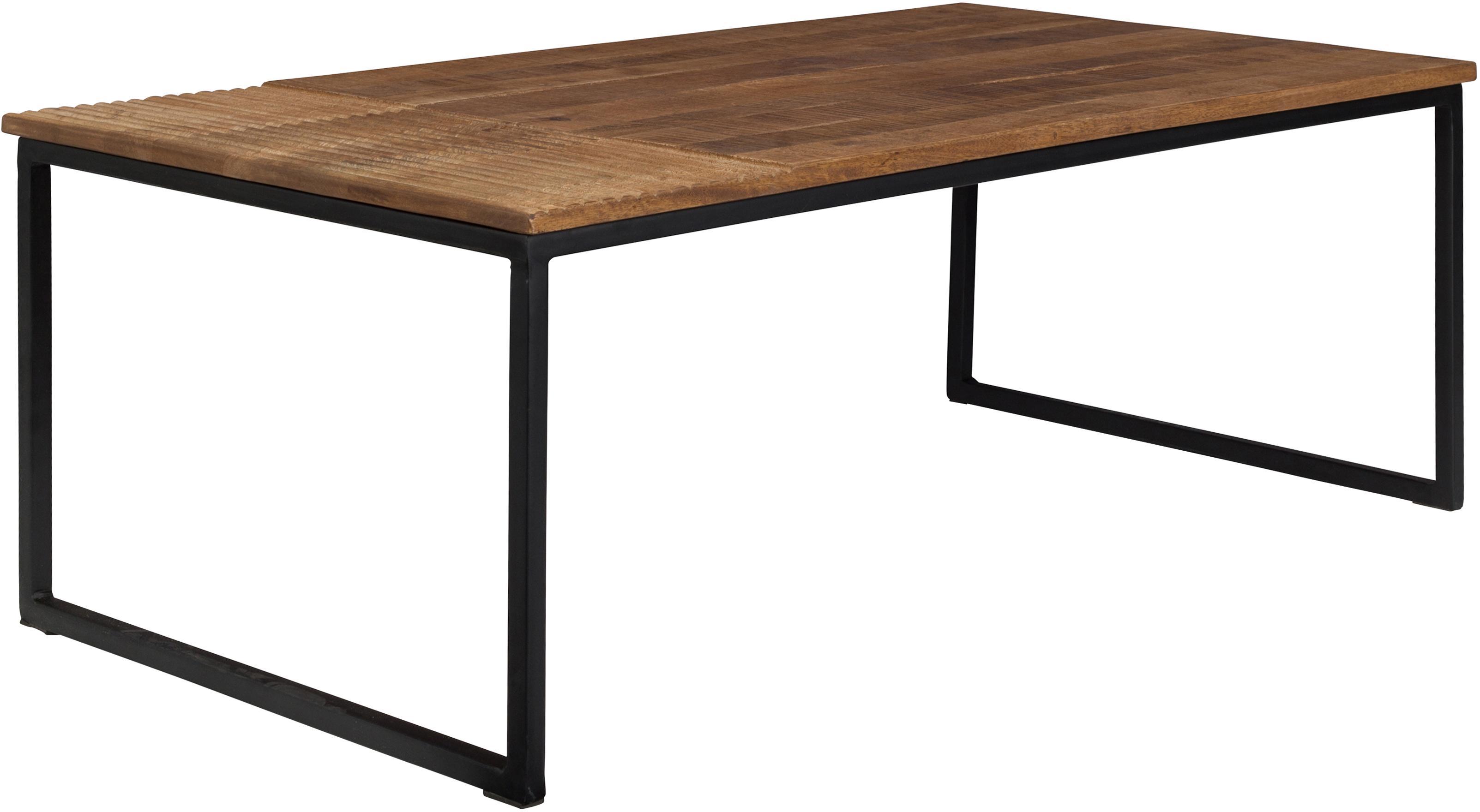 Massivholz-Couchtisch Randi im Industrial Design, Tischplatte: Mangoholz, massiv, Füße: Stahl, pulverbeschichtet, Tischplatte: Mangoholz Füße: Schwarz, 110 x 40 cm