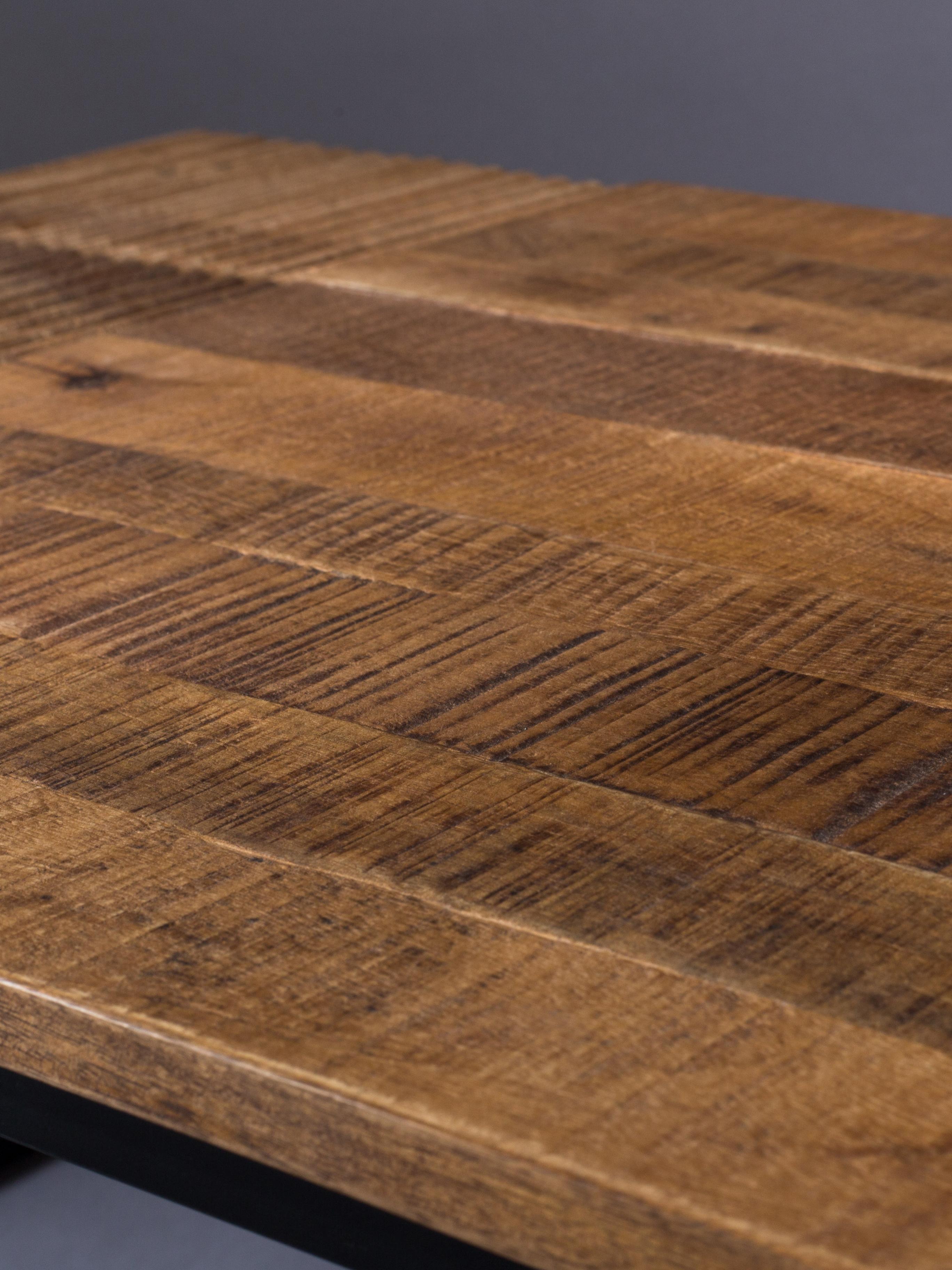 Mesa de centro de madera Randi, estilo industrial, Tablero: madera de mango maciza, Patas: acero con pintura en polv, Madera de mango, negro, An 110 x F 60 cm