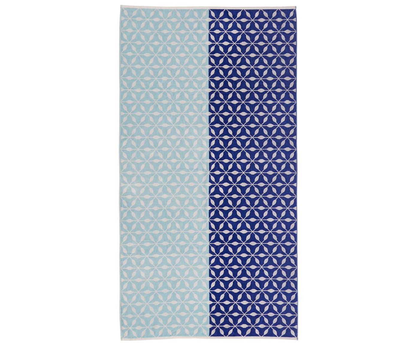 Toalla de playa Lemonade, Parte superior: velour de algodón, gramaj, Parte trasera: algodón, gramaje ligero, Azul, An 100 x L 180 cm