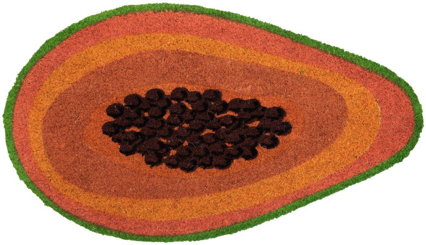 Fussmatte Papaya, Oberseite: Kokosfaser, Unterseite: PVC, Orange, Braun, Grün, 40 x 70 cm