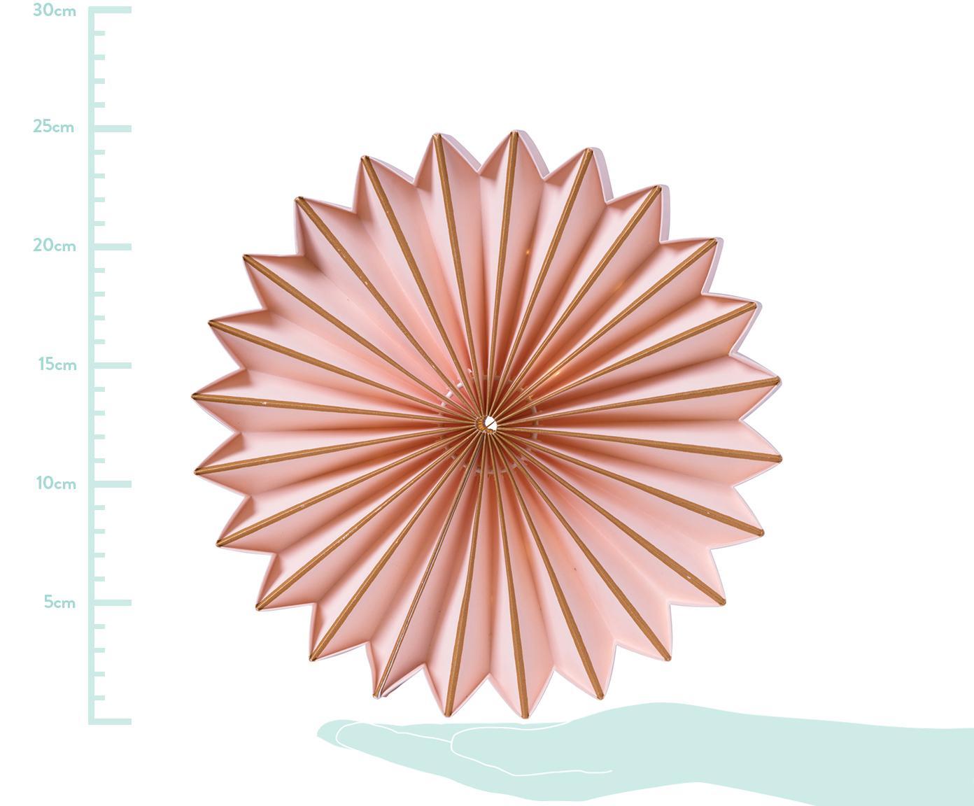LED lichtobject Juliette, Papier, Roze, goudkleurig, Ø 25 cm