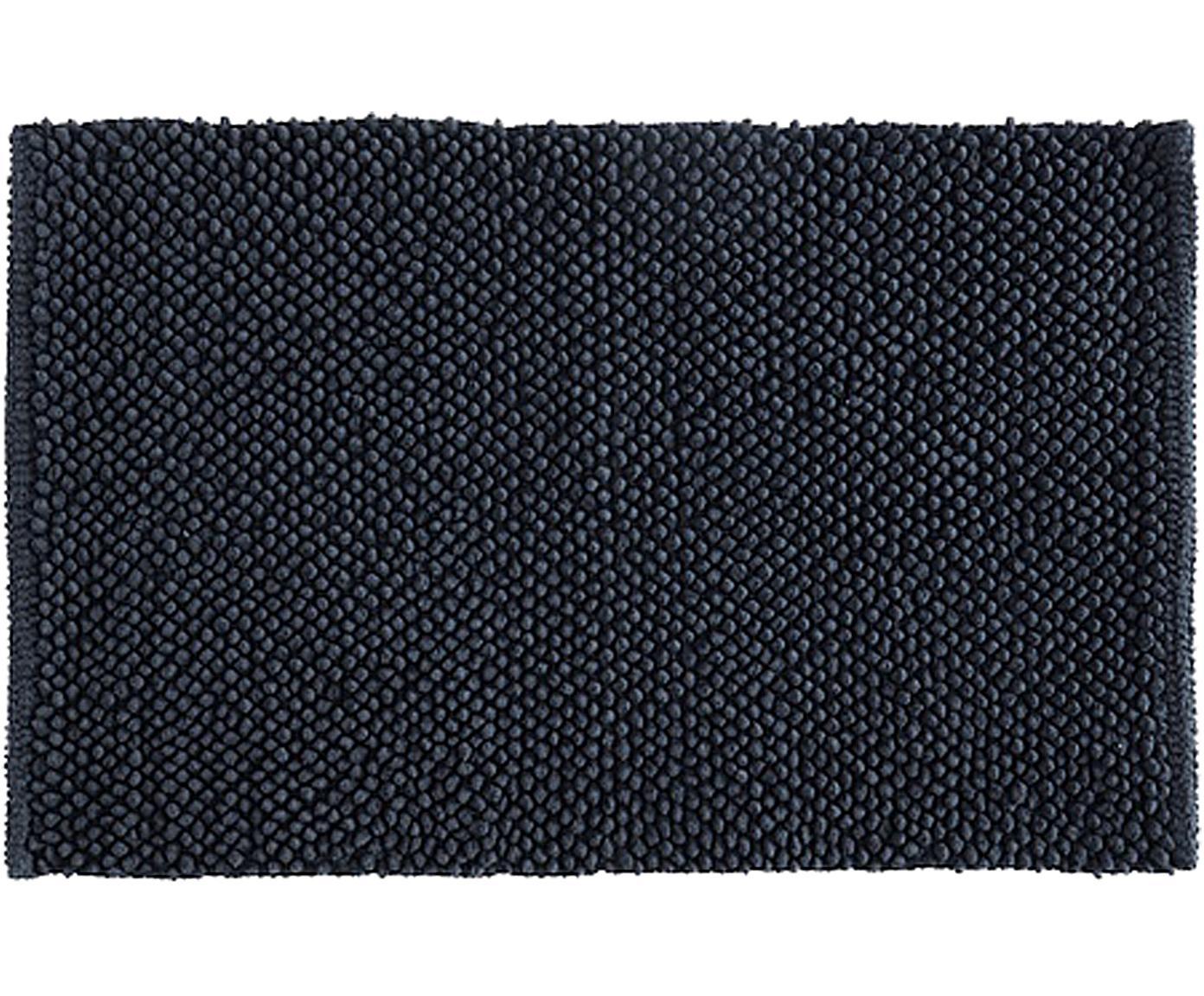 Badmat Anja in zwart, Katoen, Zwart, 50 x 80 cm