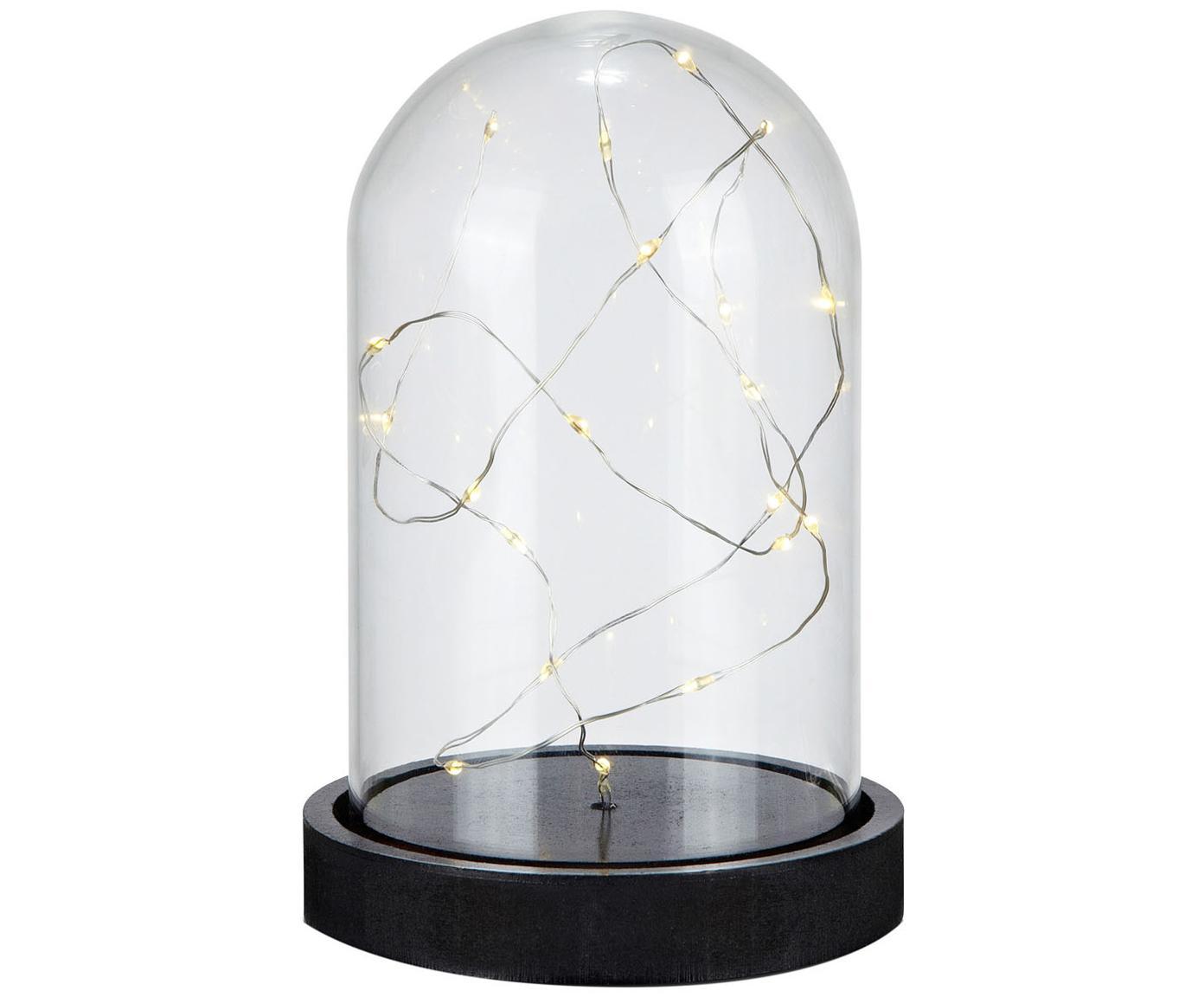 LED lichtobject Kupol, Voetstuk: kunststof, Lampenkap: glas, Zwart, transparant, Ø 11 x H 16 cm