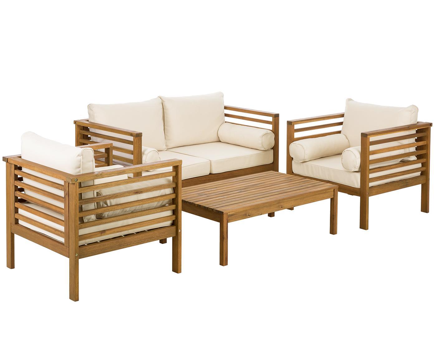 Set lounge de exterior Bo, 4pzas., Tapizado: poliéster, Estructura: madera de acacia maciza a, Beige, acacia, Tamaños diferentes