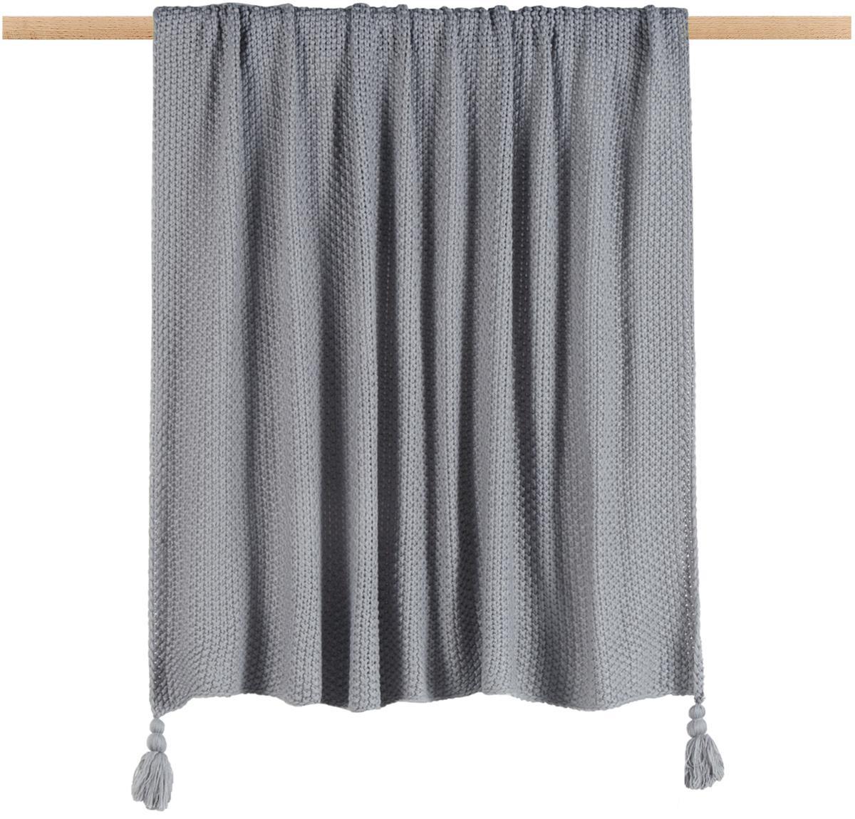 Plaid a maglia con frange Lisette, Poliacrilico, Grigio, Larg. 130 x Lung. 170 cm