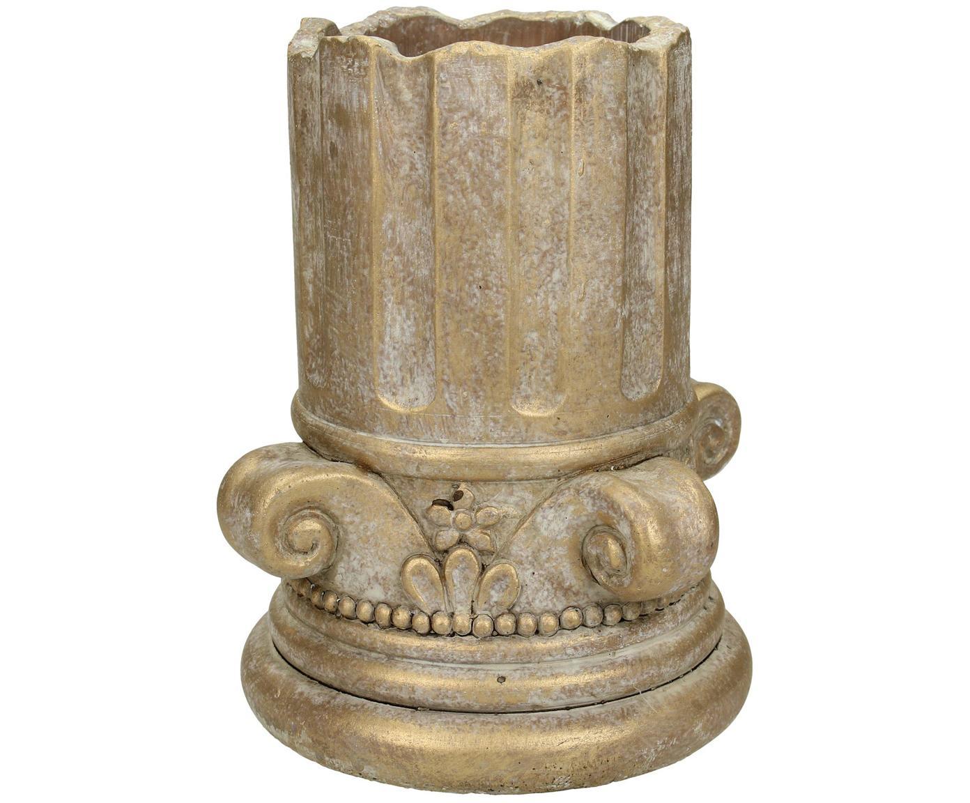 Portavaso dorato con finitura anticata Column, Cemento, Dorato con  finitura antica, Ø 15 x Alt. 17 cm