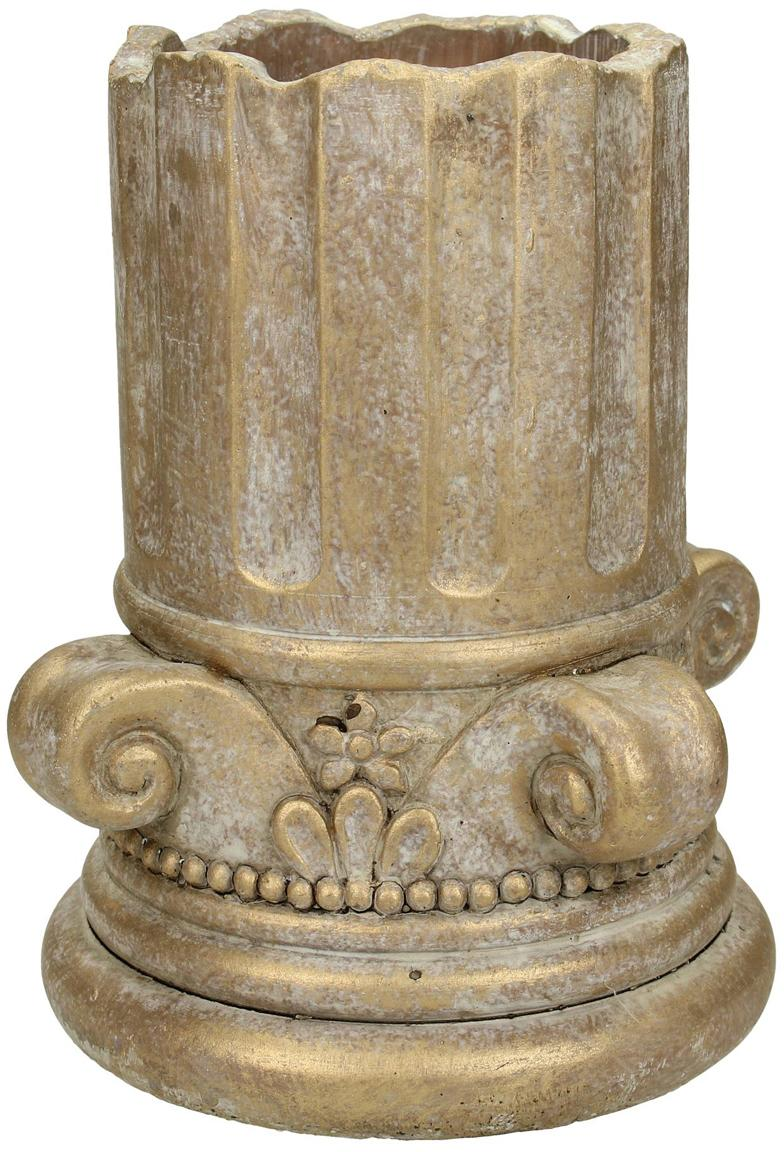 Portavaso in cemento dorato Column, Cemento, Dorato con  finitura antica, Ø 15 x Alt. 17 cm