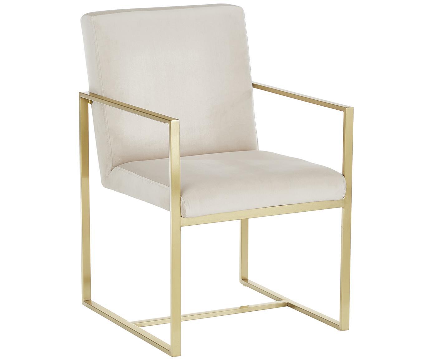 Krzesło z podłokietnikami z aksamitu Manhattan, Tapicerka: aksamit (poliester), Stelaż: metal powlekany, Beżowy, S 54 x G 66 cm
