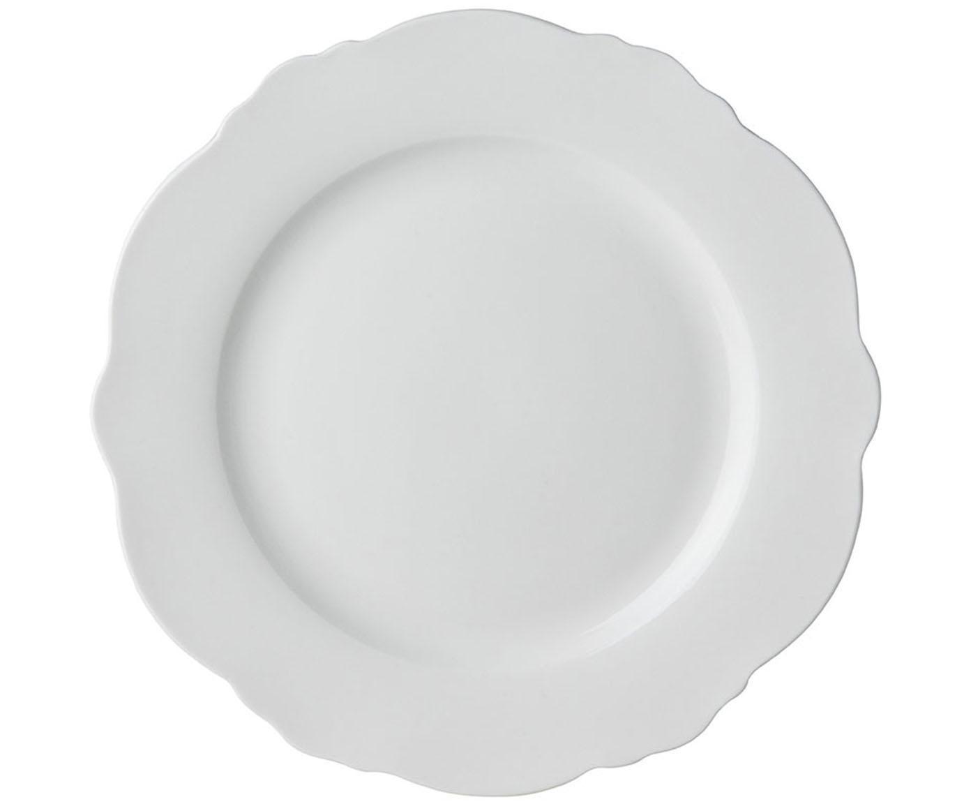 Frühstücksteller Muschel Loft mit geschwungenem Rand, 4 Stück, Porzellan, Weiss, Ø 21 x H 2 cm