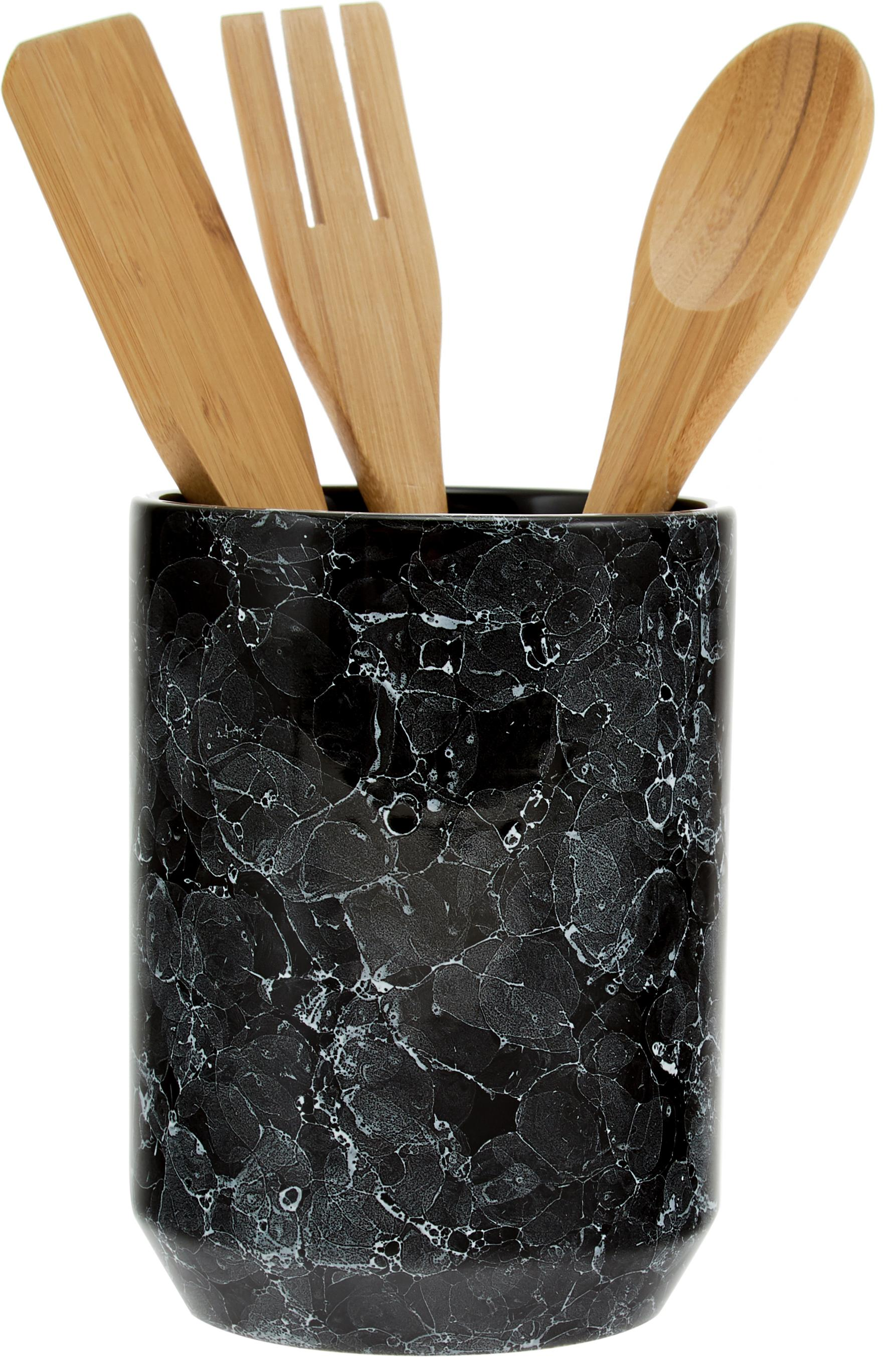 Keukengereiset Bubble, 4-delig, Keukengereihouder: keramiek, Keukengerei: hout, Zwart, bruin, Ø 11 x H 24 cm