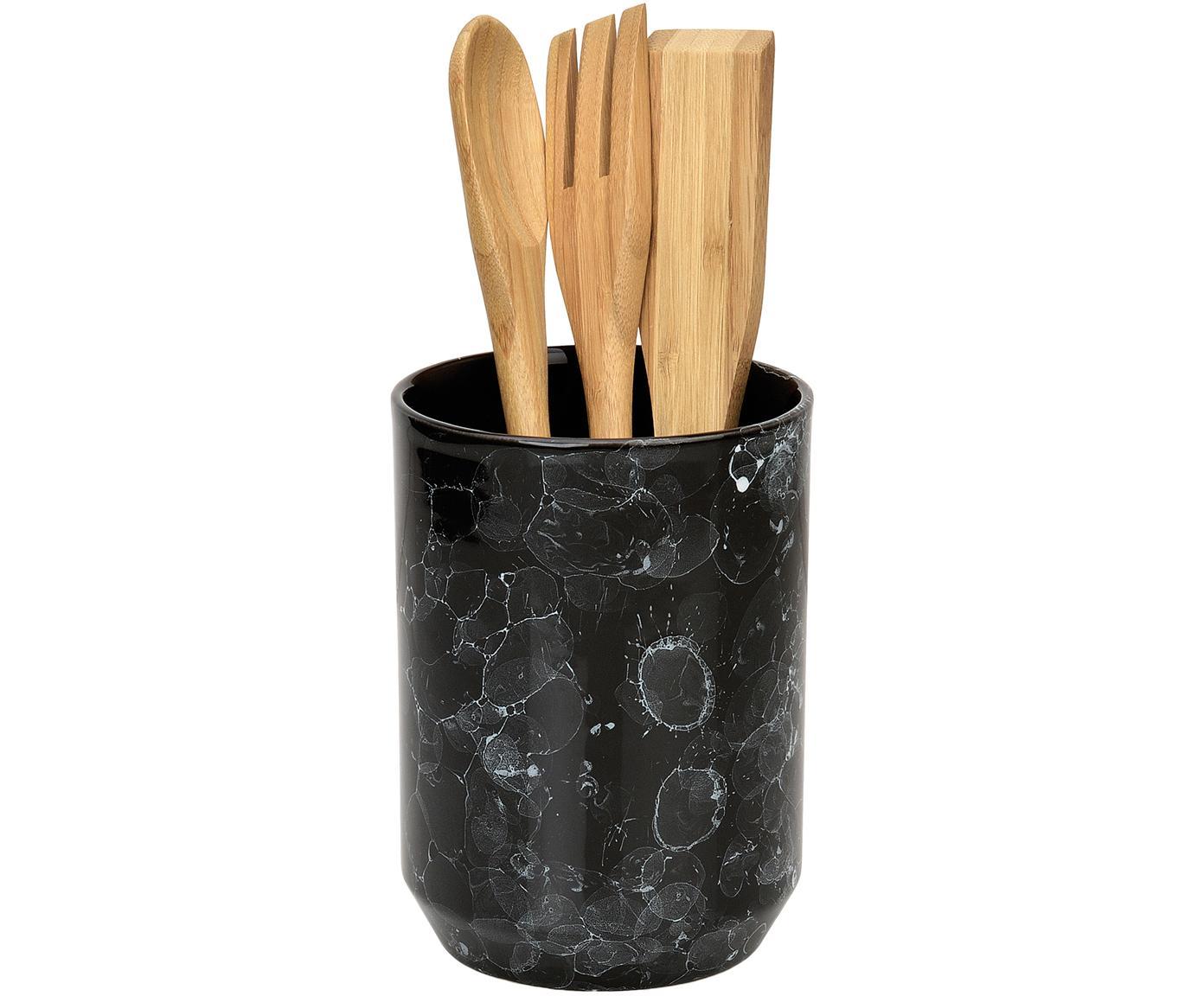 Küchenutensilien-Set Bubble in Marmor-Optik, 4-tlg., Küchenutensilienhalter: Keramik Küchenutensilien, Schwarz, Braun, Ø 11 x H 24 cm