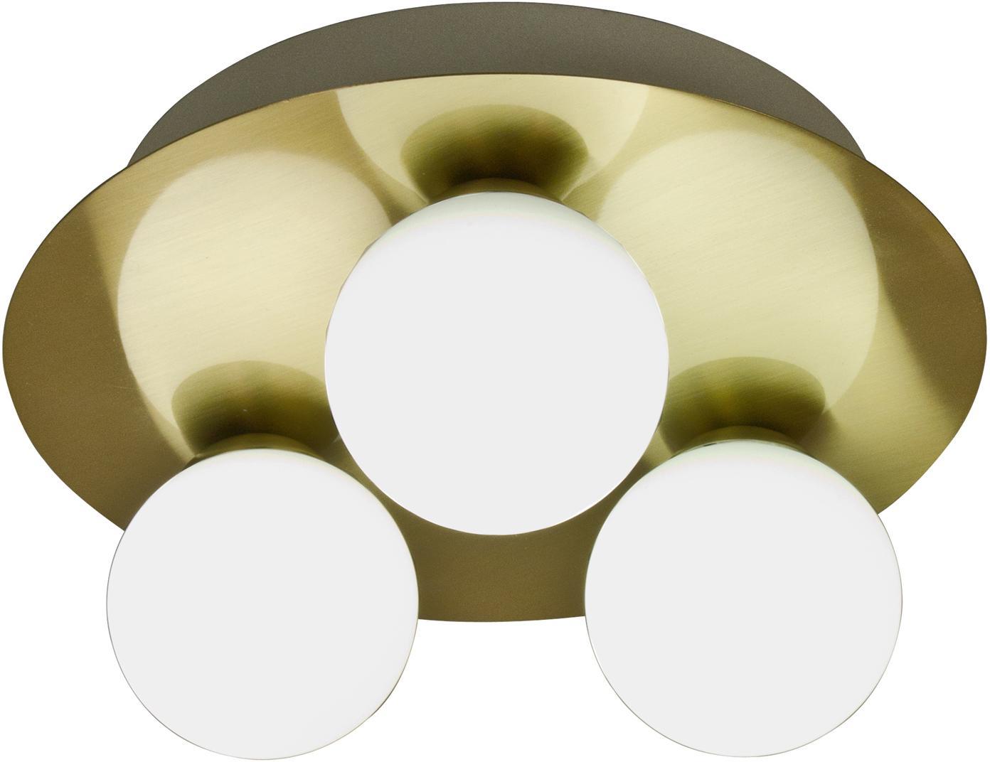 LED Deckenleuchte Orfeus, Lampenschirm: Opalglas, Messing, Opalweiss, Ø 25 x H 13 cm