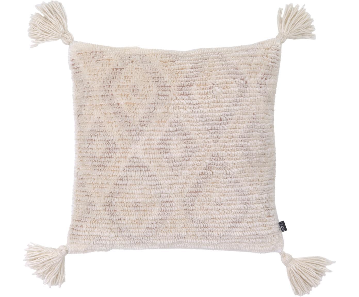Boho-Kissenhülle Zoya mit Hoch-Tief-Struktur und Quasten, 70% Baumwolle, 30% Polyester, Cremeweiss, Beige, 45 x 45 cm