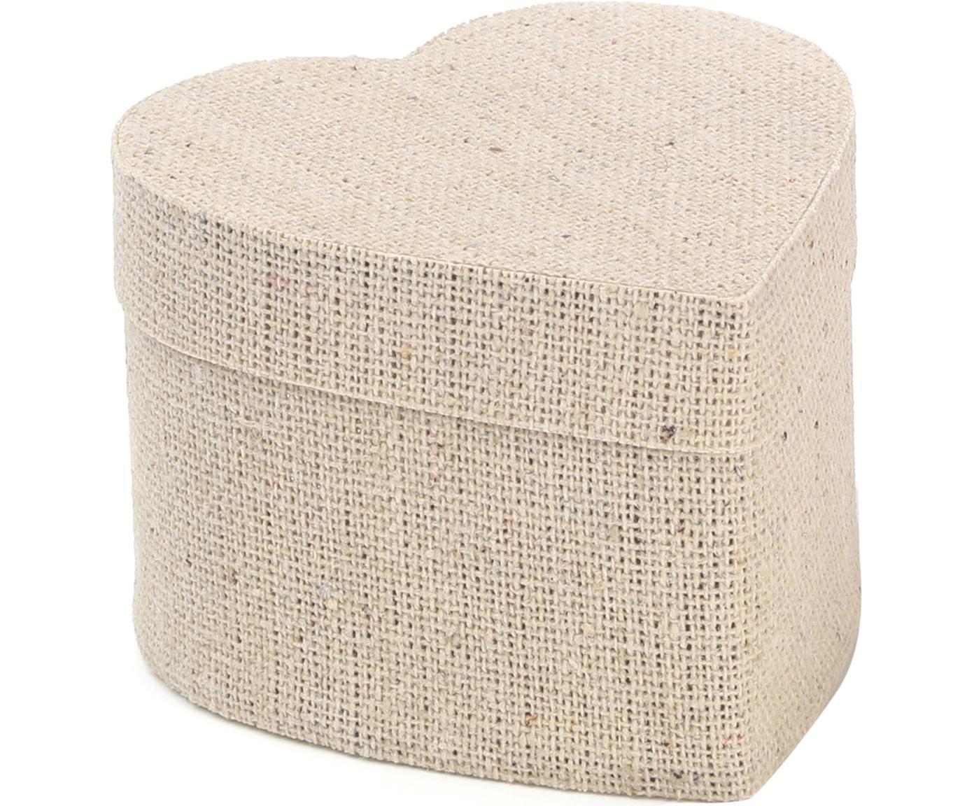 Geschenkboxen Heart, 6 Stück, Baumwolle, Beige, 5 x 7 cm