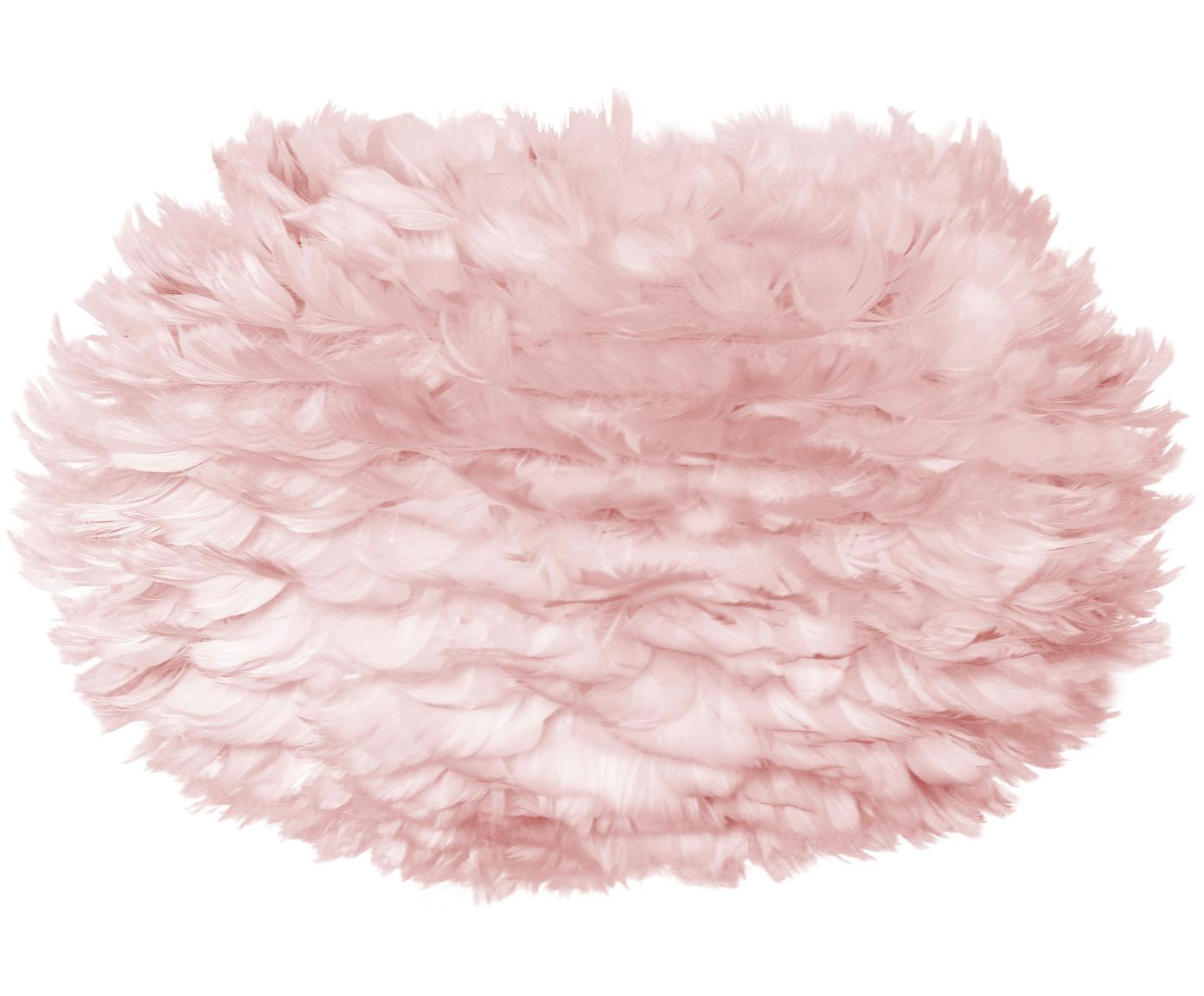 Paralume in piume Eos, Piume d'oca, acciaio, Rosa chiaro, Ø 45 x Alt. 30 cm