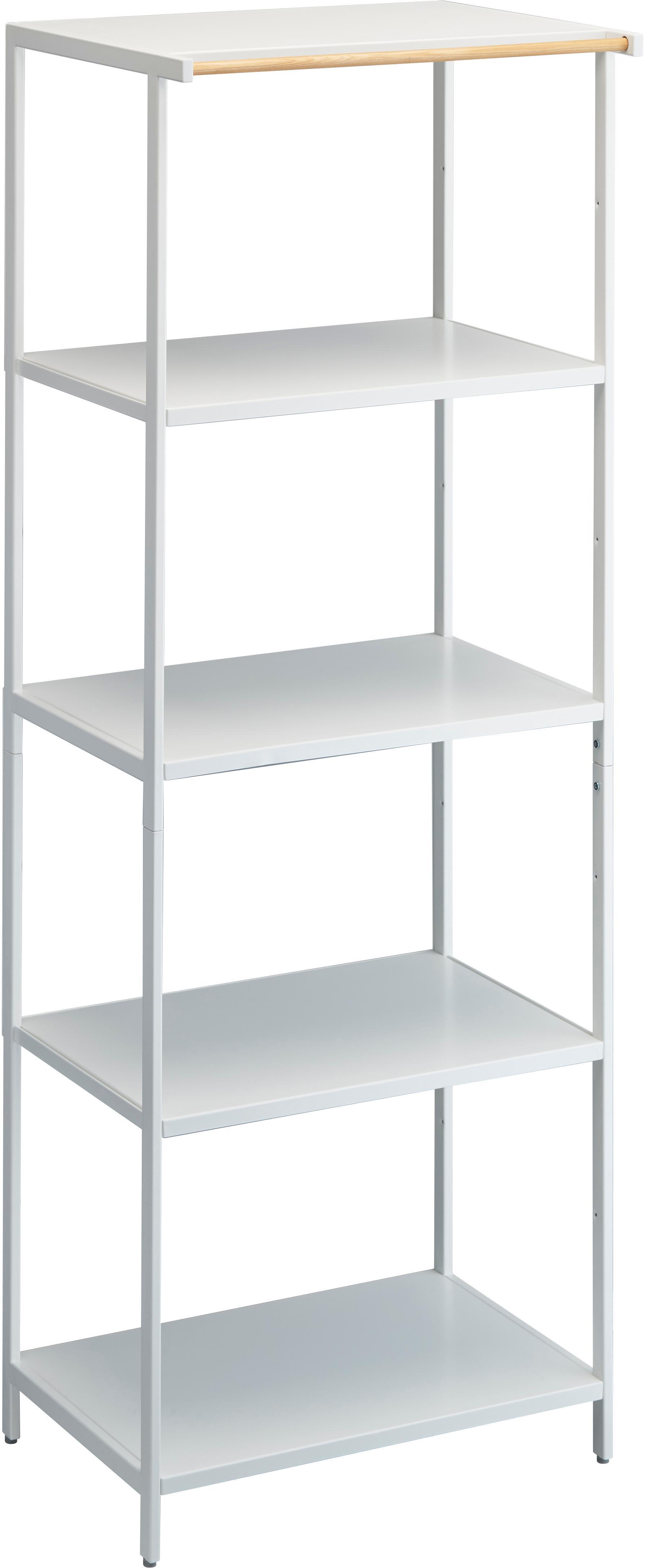 Estantería de metal Killy, Estantería: metal con pintura en polv, Asa: madera, Blanco, An 60 x F 170 cm