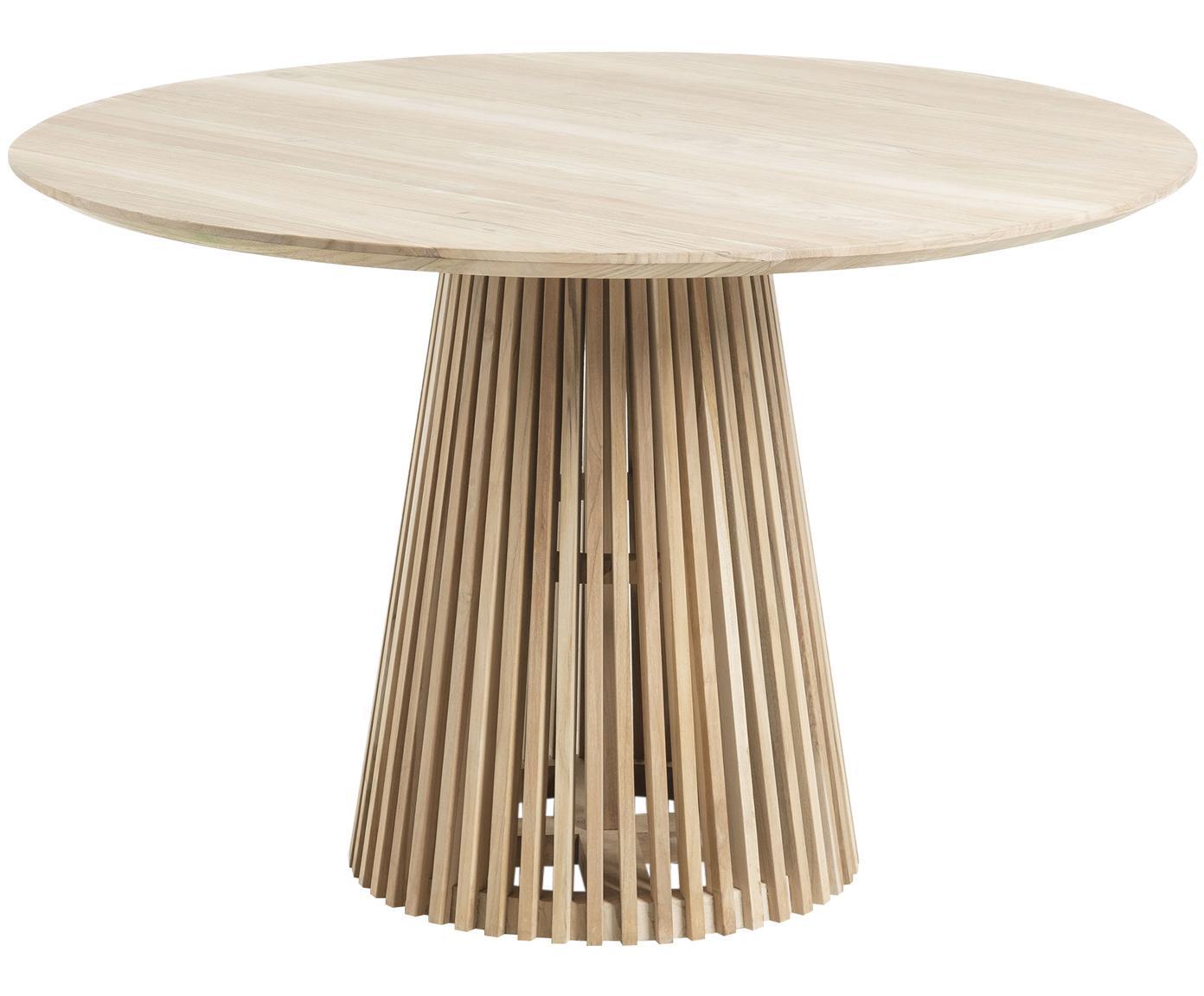 Ronde massief houten eettafel Jeanette in scandi design, Natuurlijk teakhout, Teakhout, Ø 120 x H 78 cm