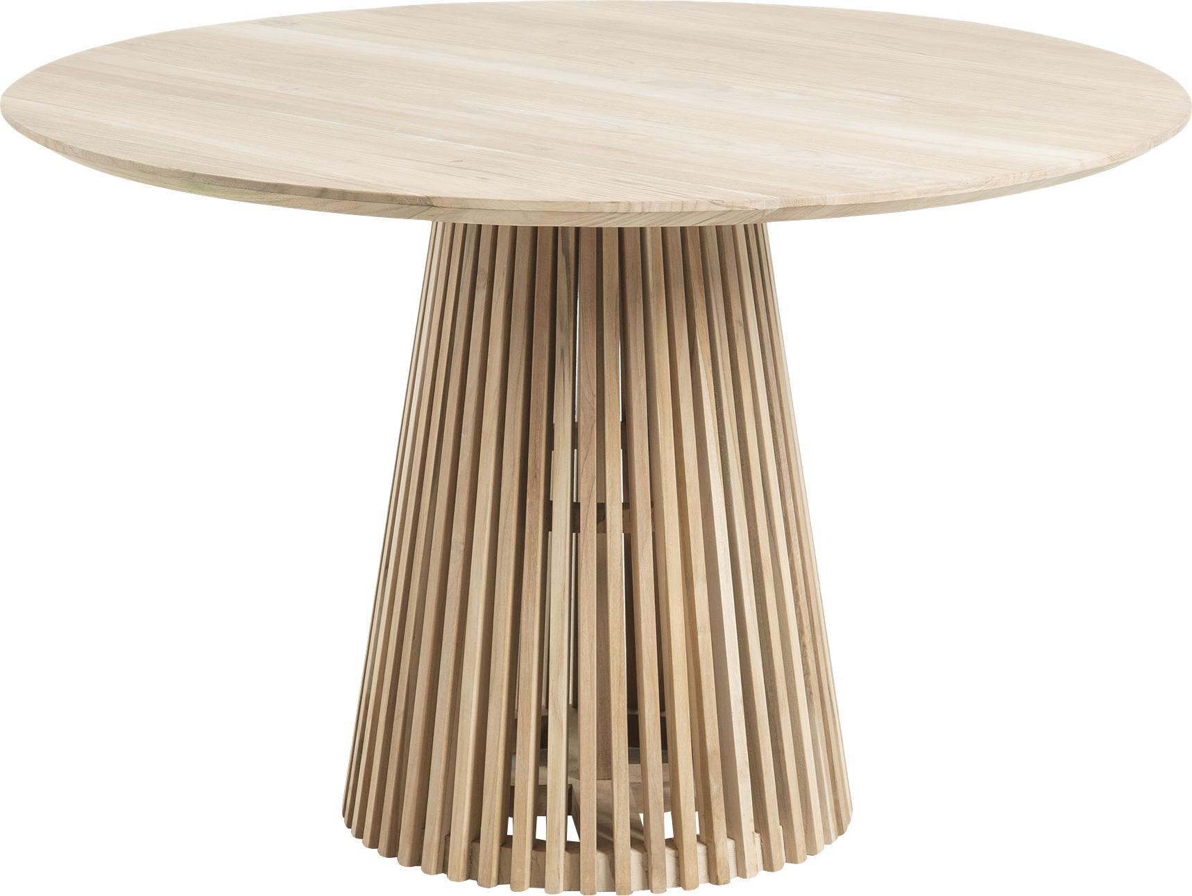 Okrągły stół do jadalni z litego drewna Jeanette, Naturalne drewno tekowe, Drewno tekowe, Ø 120 x W 78 cm