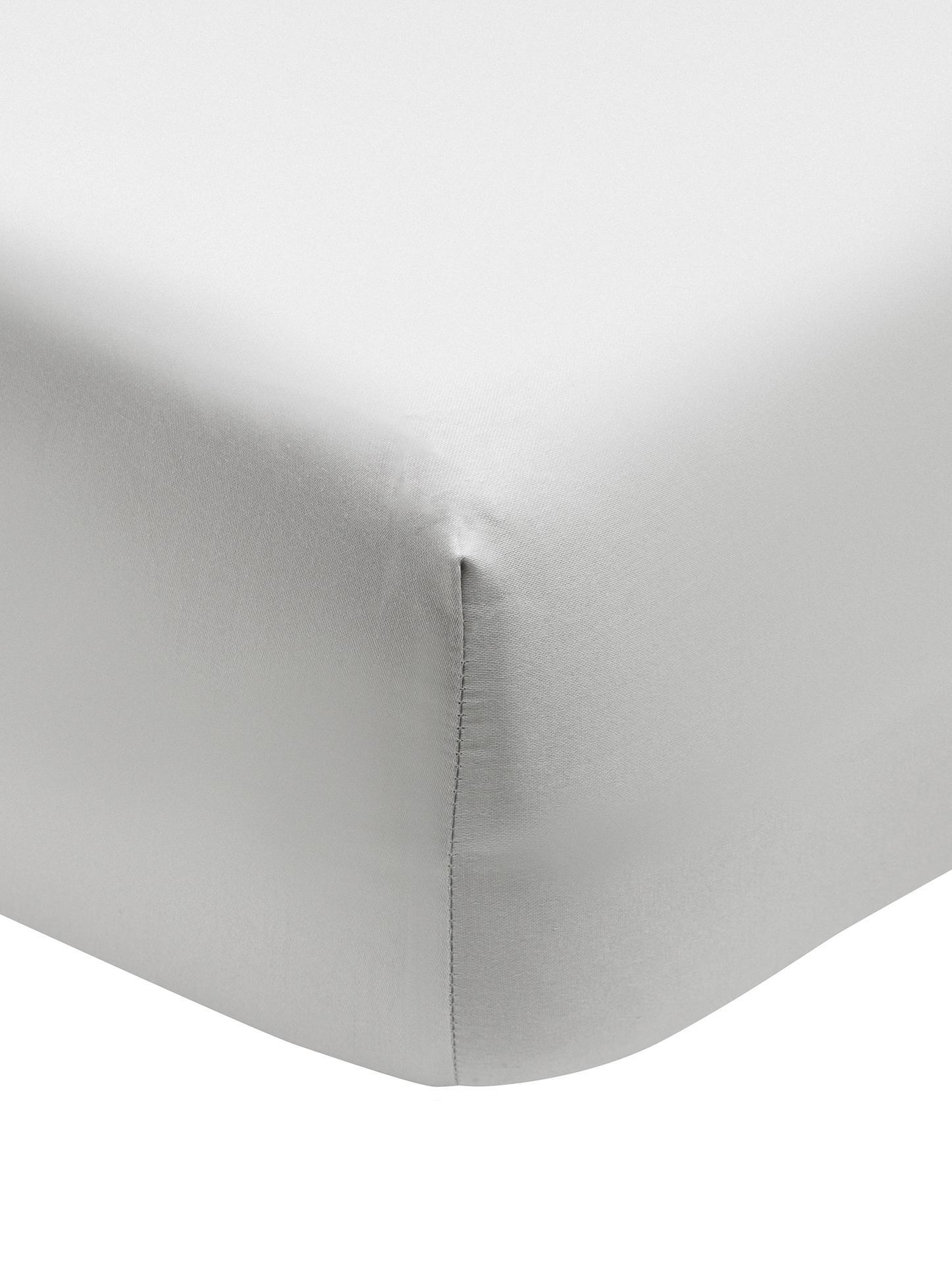 Spannbettlaken Premium in Hellgrau, Baumwollsatin, Webart: Satin, leicht glänzend, Hellgrau, 160 x 200 cm