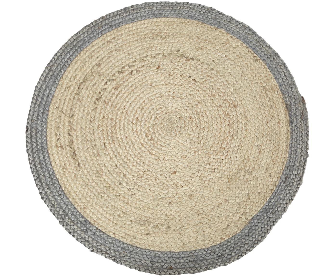 Runder Jute-Teppich Shanta mit grauem Rand, handgefertigt, Beige, Grau, Ø 100 cm (Grösse XS)