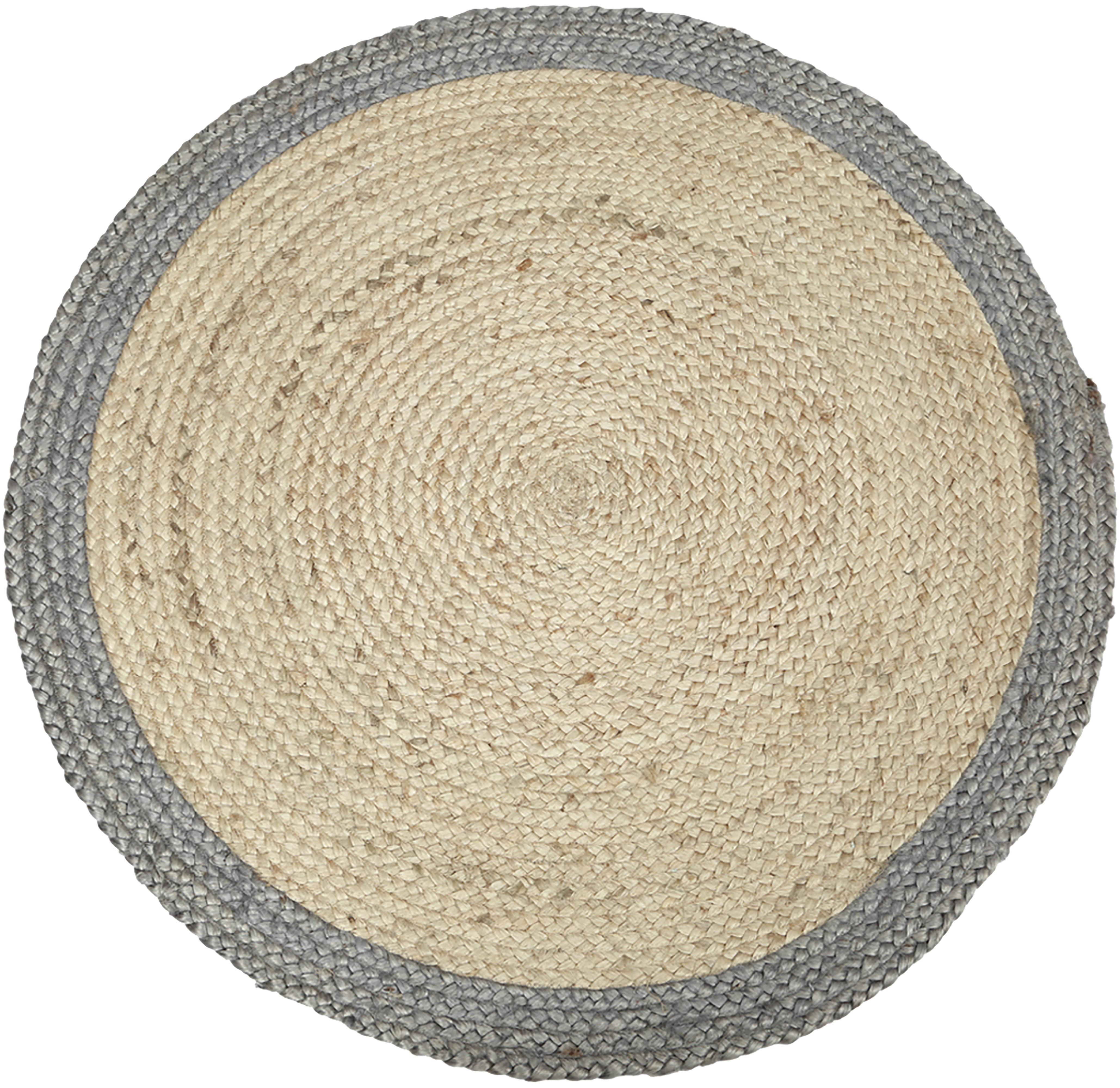 Handgemaakte jute vloerkleed Shanta, Beige, grijs, Ø 100 cm