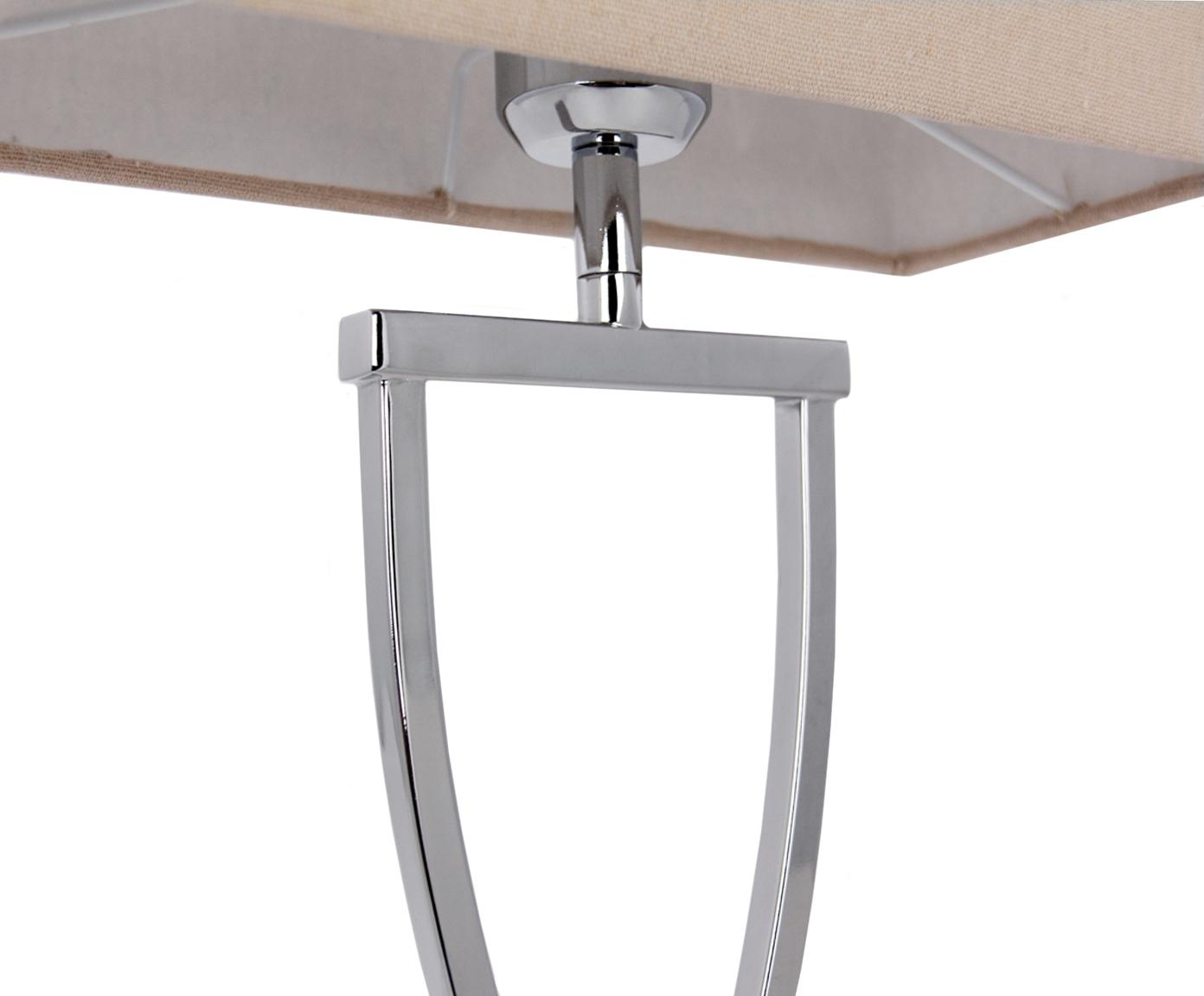 Tafellamp Vanessa, Lampvoet: metaal, Lampenkap: textiel, Lampvoet: chroomkleurig. Lampenkap: taupe. Snoer: wit, 27 x 52 cm