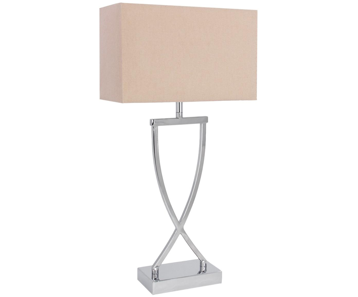 Lampada da tavolo Vanessa, Base della lampada: Metallo, Paralume: Tessuto, Base della lampada: argento, paralume: taupe, cavo: bianco, Larg. 27 x Alt. 52 cm