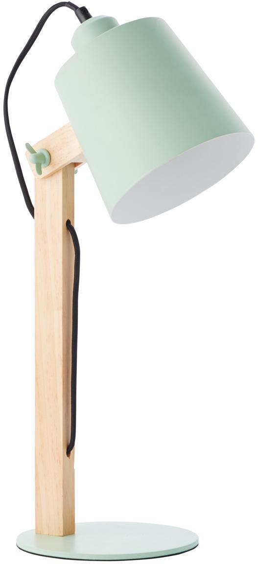 Grosse Skandi-Schreibtischlampe Swivel mit Holzfuss, Lampenschirm: Metall, Mintgrün, Holz, 16 x 52 cm