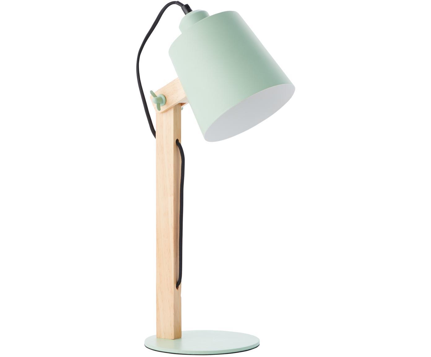 Skandi-Schreibtischlampe Swivel mit Holzfuß, Lampenschirm: Metall, Lampenfuß: Metall, Mintgrün, Holz, 16 x 52 cm