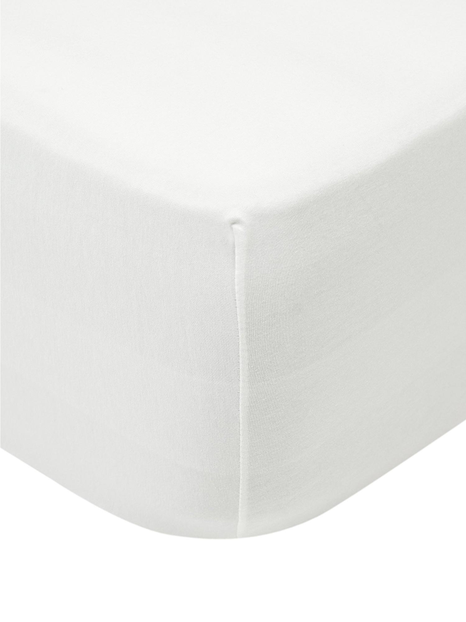 Jersey topper hoeslaken Lara, 95% katoen, 5% elastaan, Crèmekleurig, 90 x 200 cm
