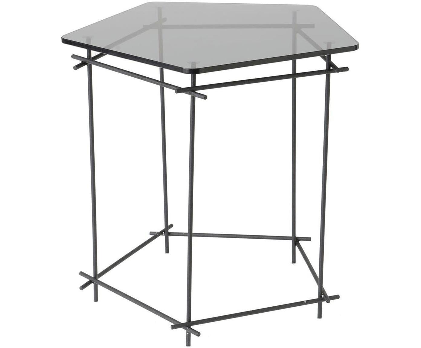 Mesa auxiliar Haxa, Tablero: vidrio, Negro, An 53 x F 51 cm