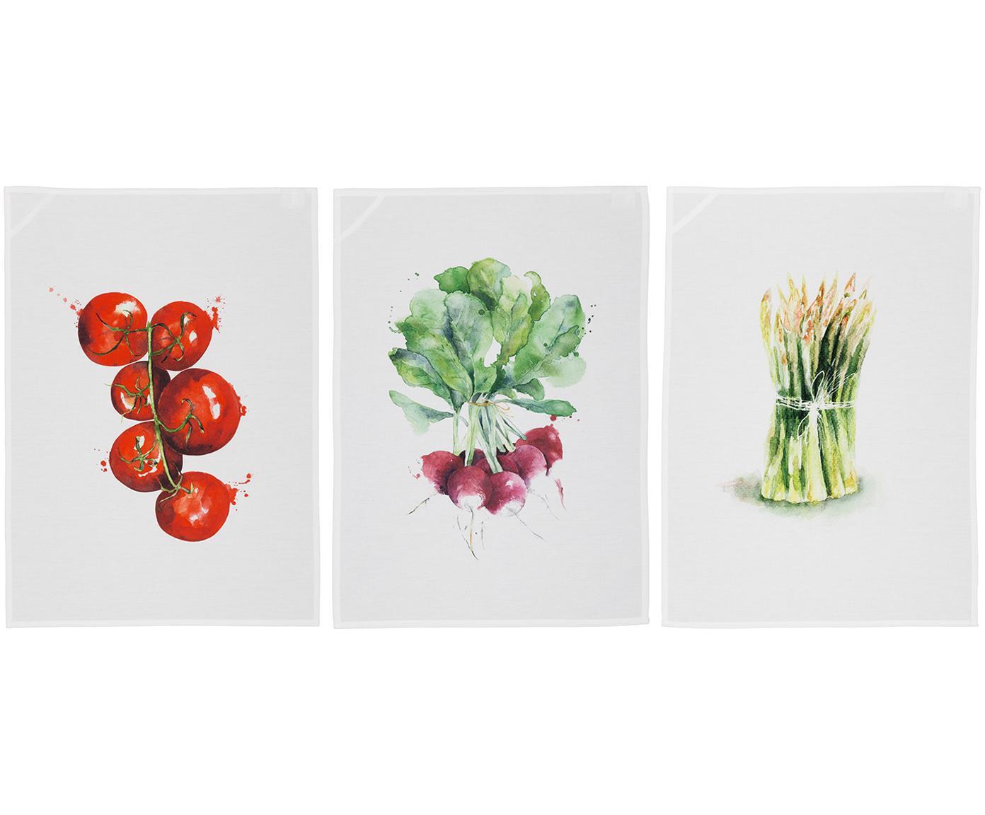 Theedoeken set Marchè, 3-delig, Wit, groen, rood, 50 x 70 cm