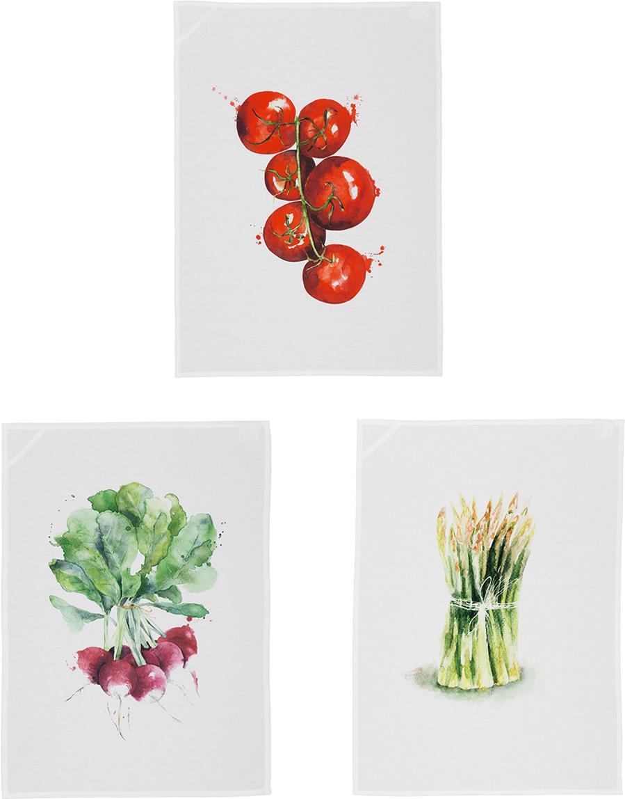 Komplet ręczników kuchennych Marchè, 3 elem., Biały, zielony, czerwony, S 50 x D 70 cm