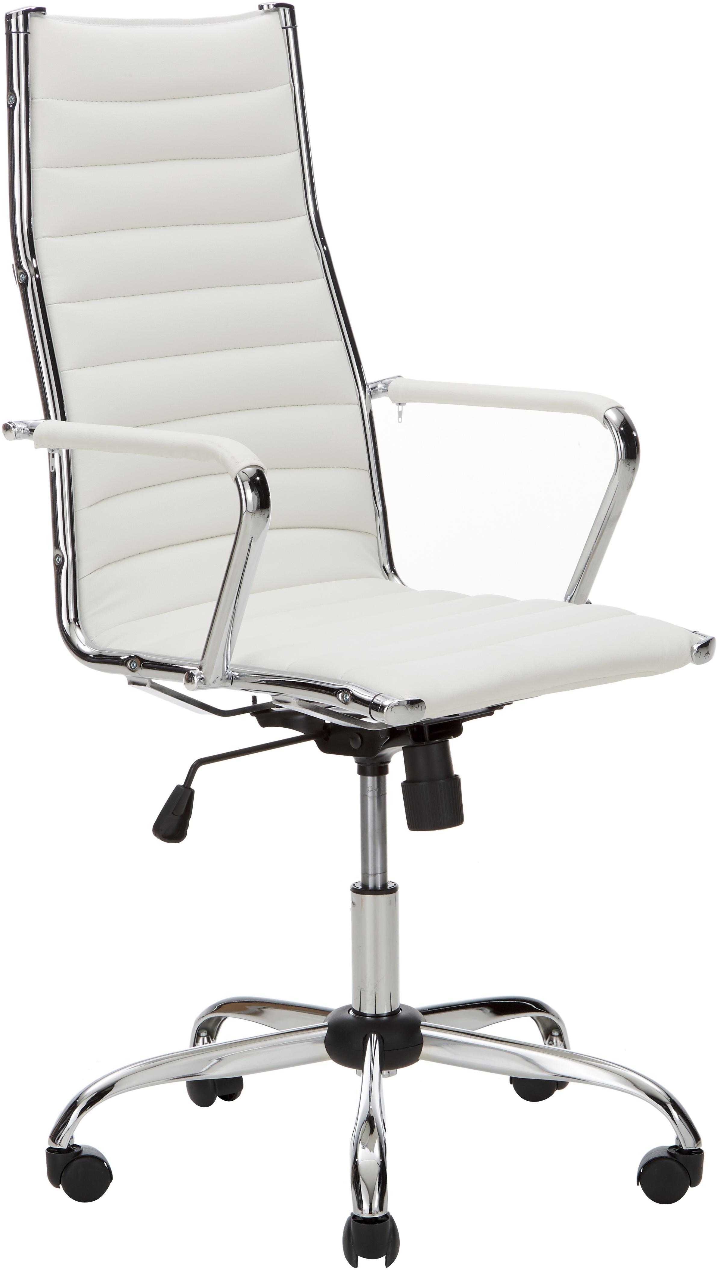 Silla giratoria de oficina Amstyle, altura regulable, Tapizado: cuero sintético, Estructura: metal cromado, Blanco, cromo, An 60 x F 62 cm