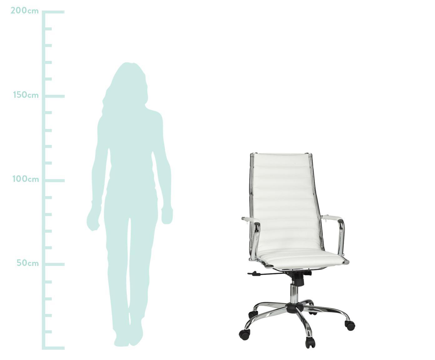 Bureaustoel Amstyle, in hoogte verstelbaar, Bekleding: kunstleer, Frame: verchroomd metaal, Wit, chroomkleurig, 60 x 62 cm
