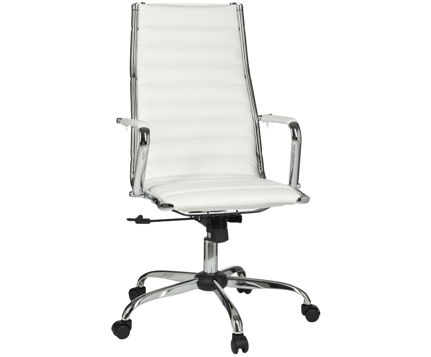 Bürodrehstuhl Amstyle, höhenverstellbar, Bezug: Kunstleder, Gestell: Metall, verchromt, Weiß, Chrom, B 60 x T 62 cm