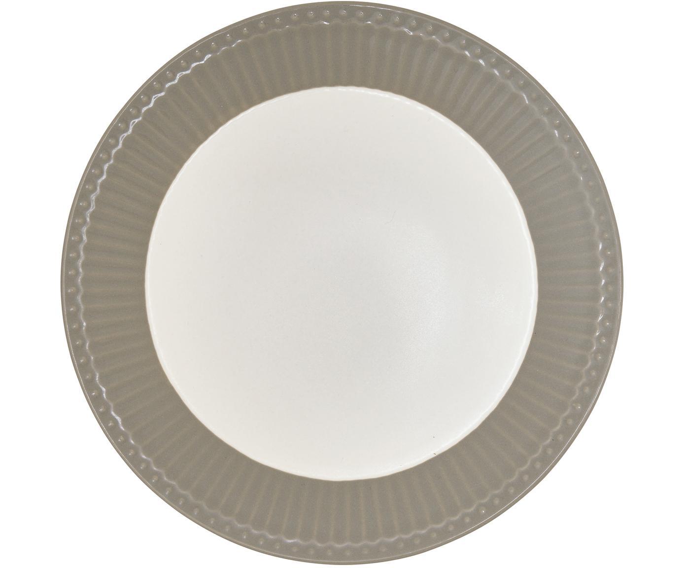 Handgefertigte Frühstücksteller Alice in Grau mit Reliefdesign, 2 Stück, Steingut, Grau, Weiß, Ø 23 cm
