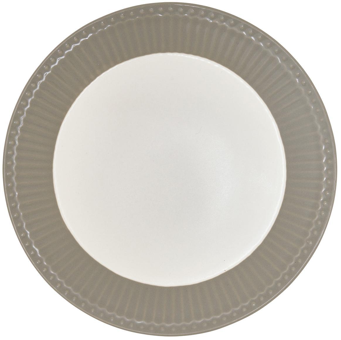 Piattino da dessert grigio Alice 2 pz, Terracotta, Grigio, bianco, Ø 23 cm