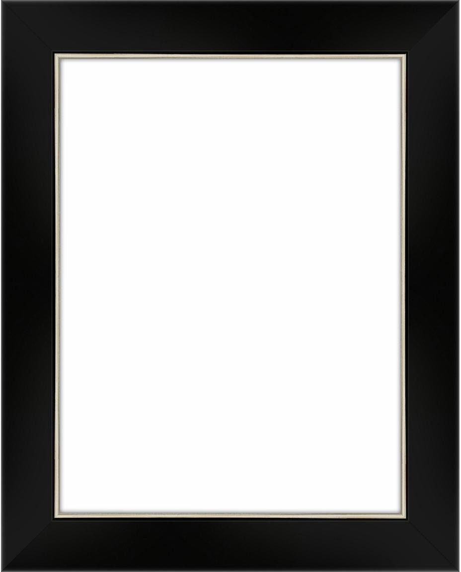 Cornice nera e argentata Classico, Cornice: Legno di pino (Pinus Sylv, Retro: Pannelli di fibra a media, Nero, 15 x 20 cm