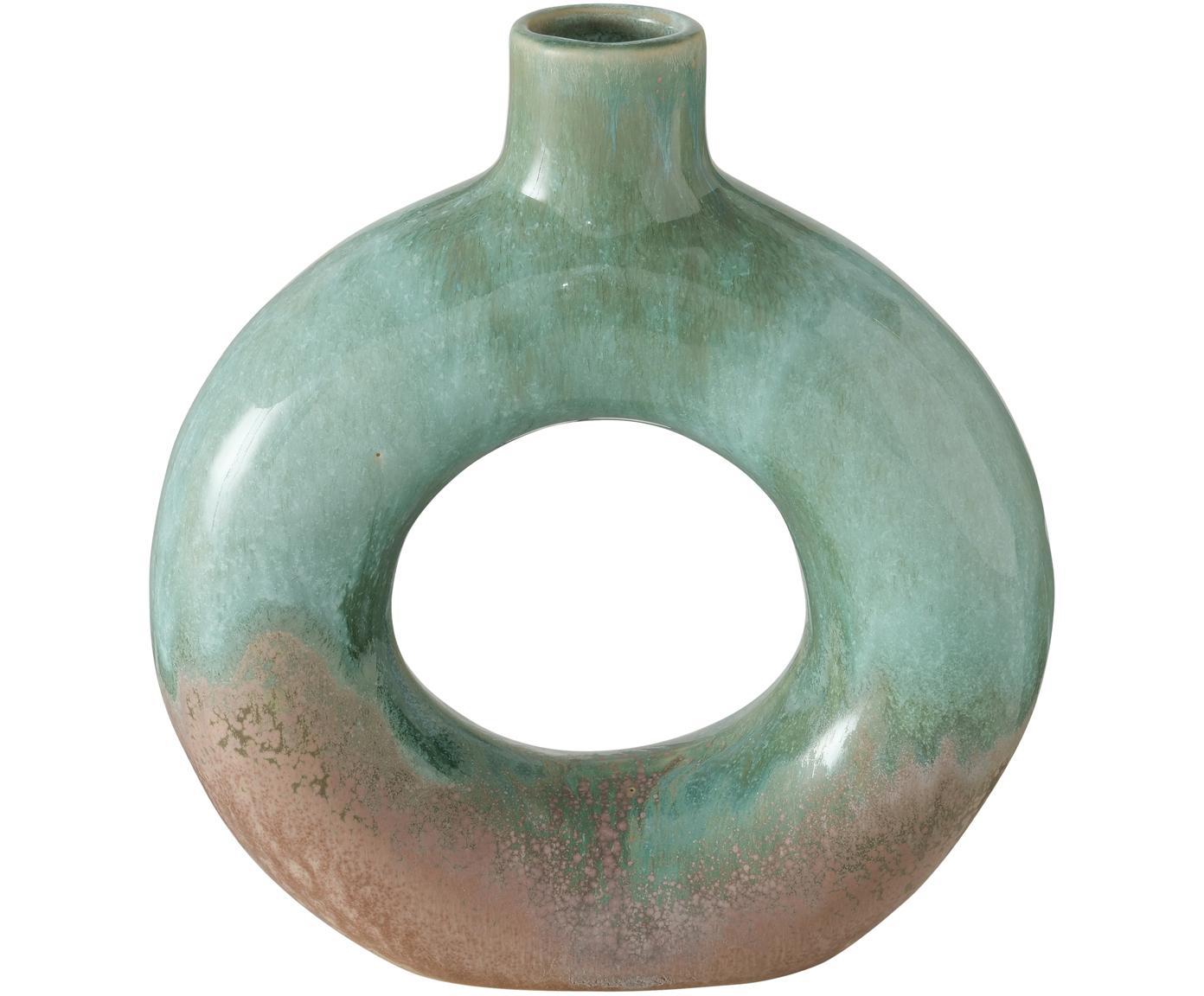 Glasierte Vase Peruya, Steingut, Grün, 19 x 21 cm