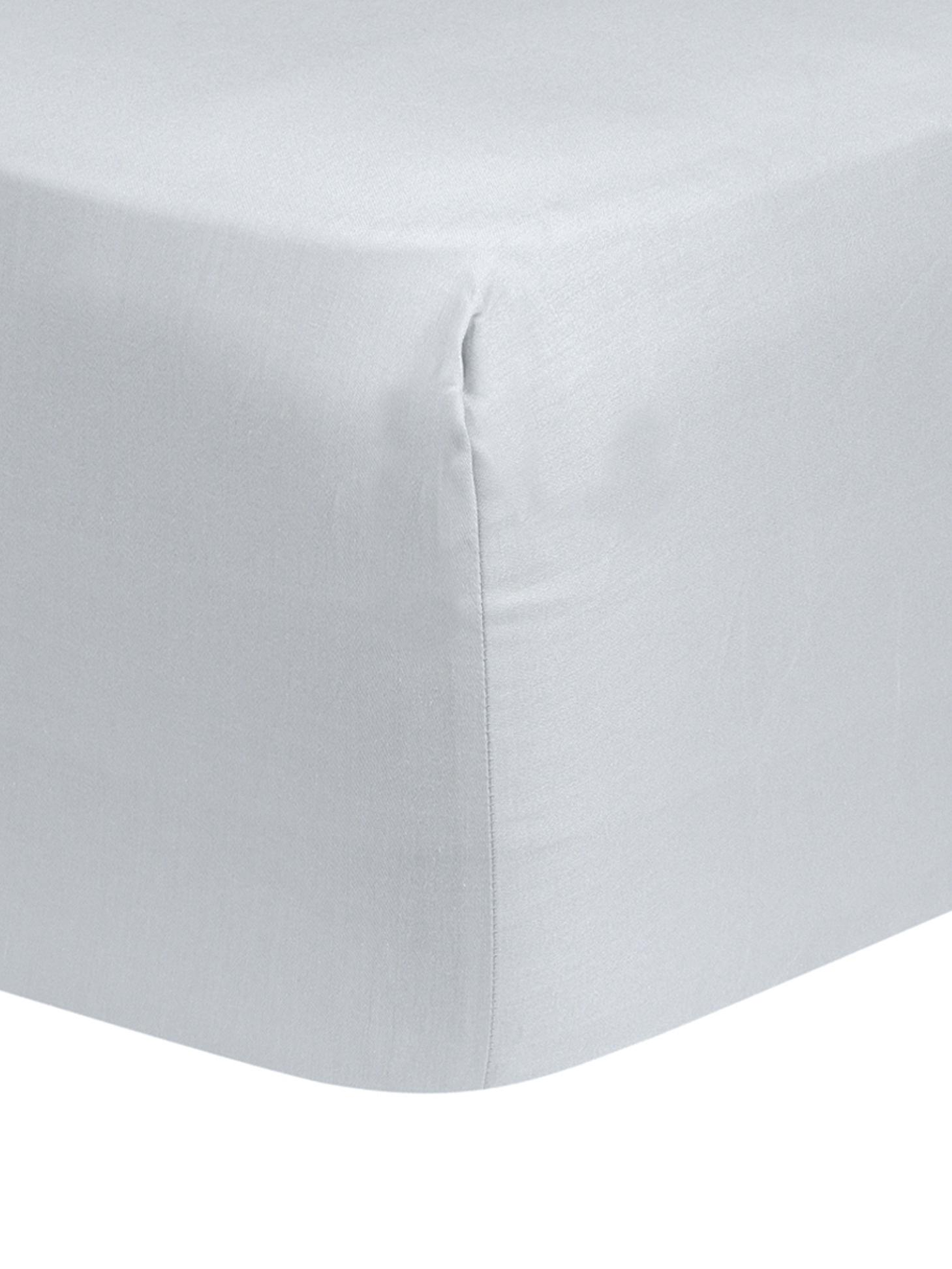 Lenzuolo con angoli in raso di cotone Comfort, Grigio chiaro, Larg. 90 x Lung. 200 cm