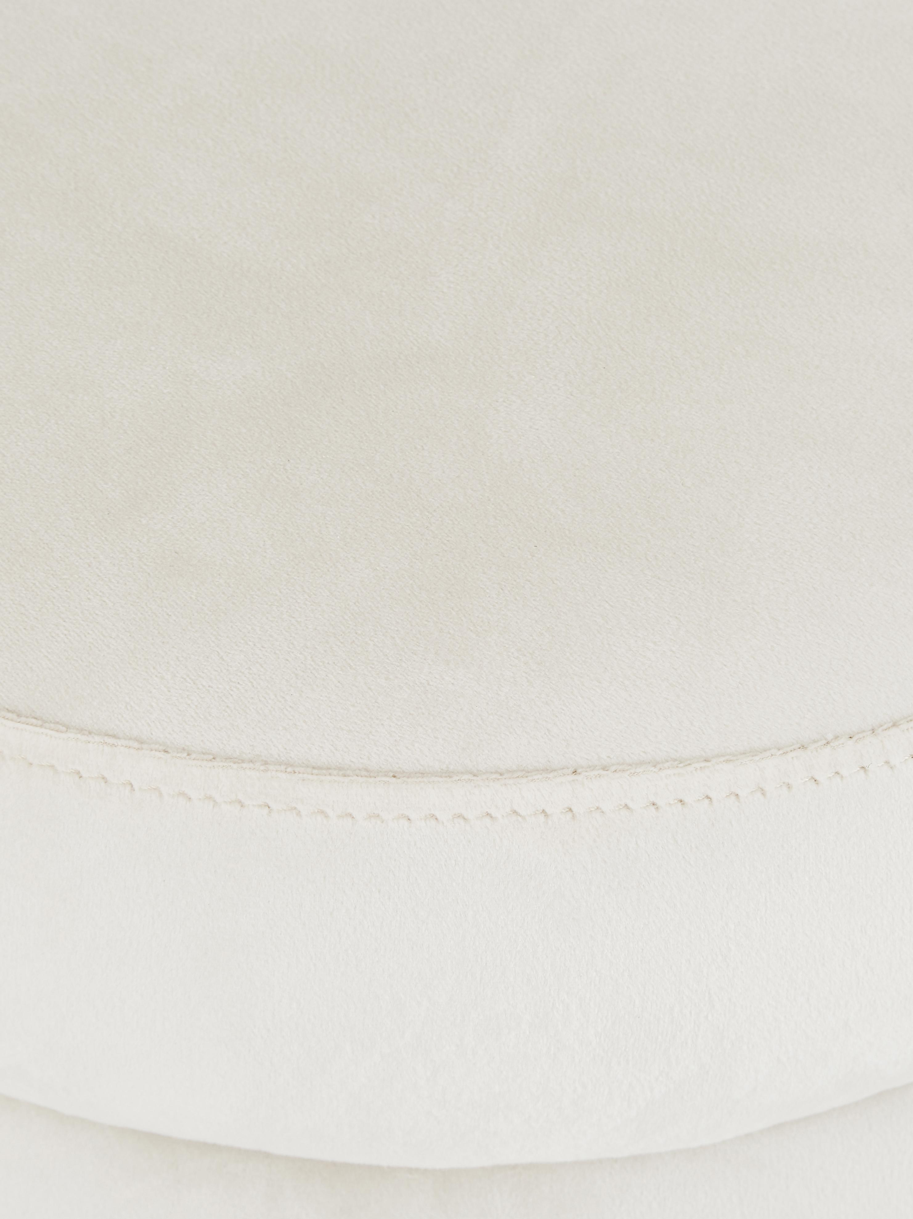 Samt-Hocker Alto, Bezug: Samt (Polyester) 30.000 S, Gestell: Massives Kiefernholz, Spe, Samt Cremeweiß, Ø 42 x H 47 cm