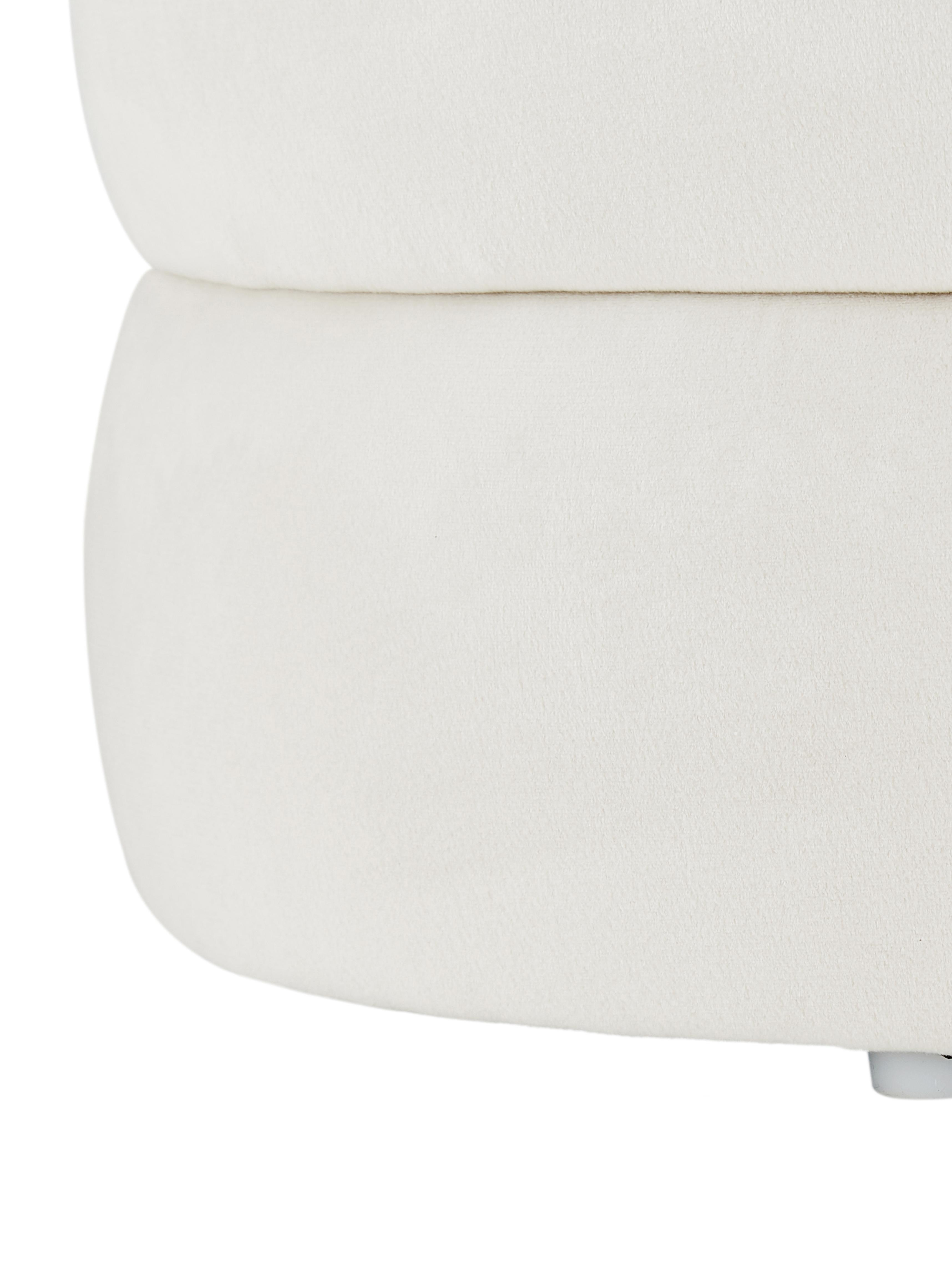 Sgabello in velluto Alto, Rivestimento: velluto (poliestere) 30.0, Struttura: legno di pino massiccio, , Velluto bianco crema, Ø 42 x Alt. 47 cm