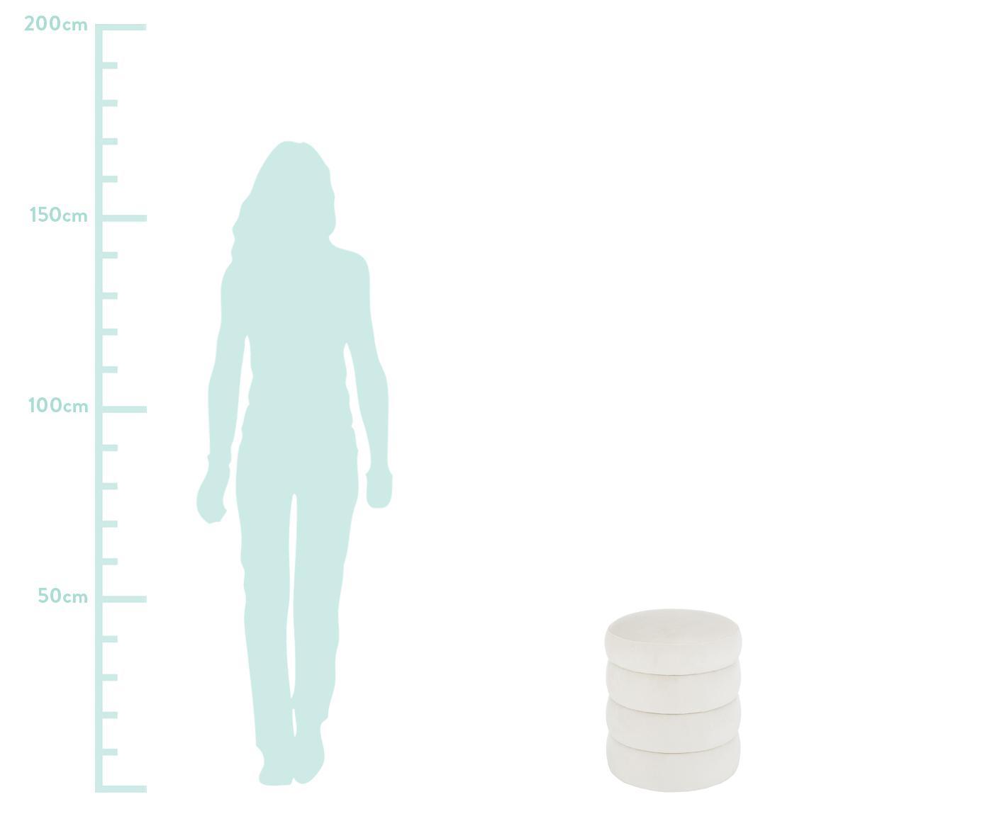 Fluwelen poef Alto, Bekleding: fluweel (polyester), Frame: massief grenenhout, multi, Crèmewit, Ø 42 x H 48 cm